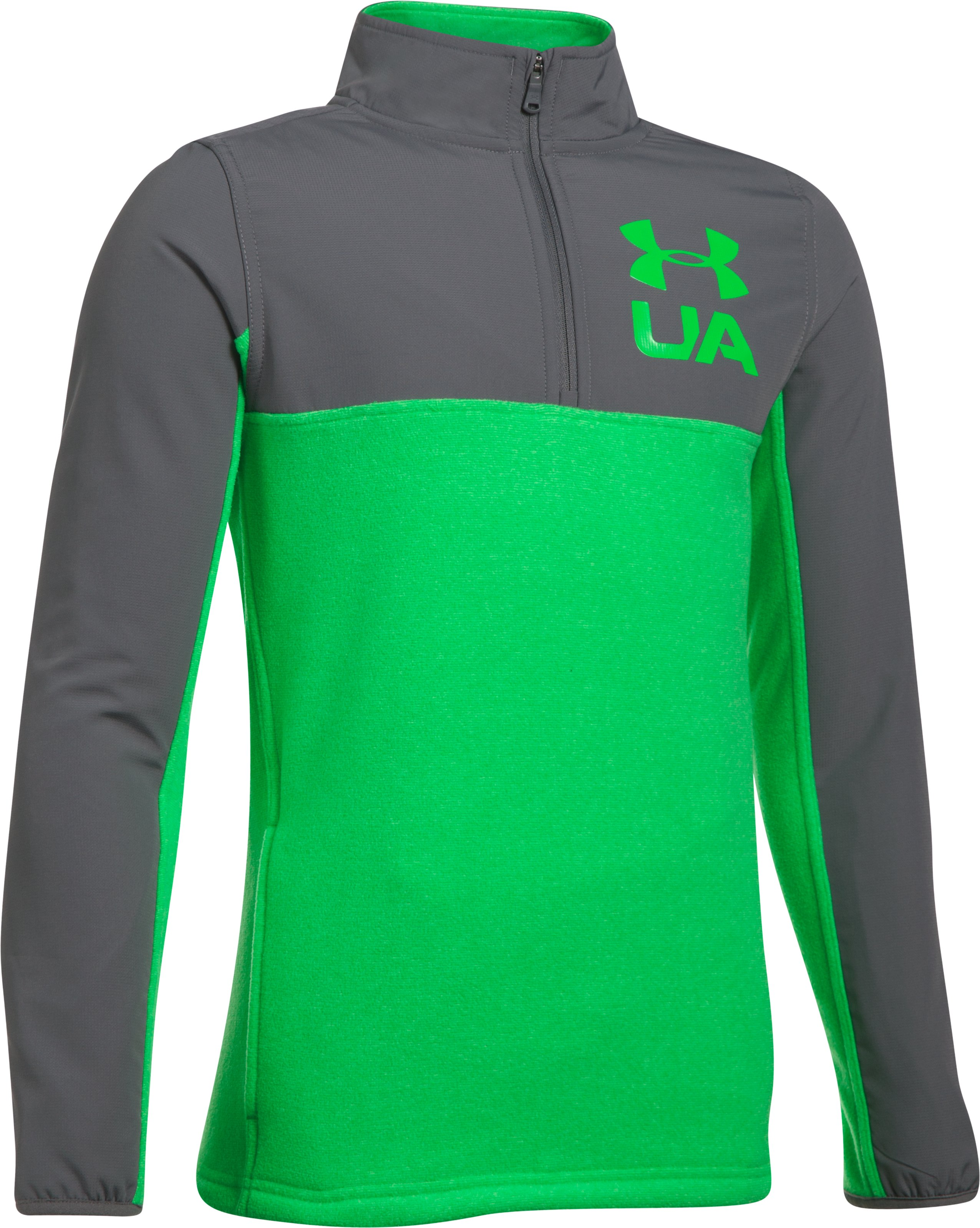 Boys' UA Phenom ¼ Zip, LIME TWIST