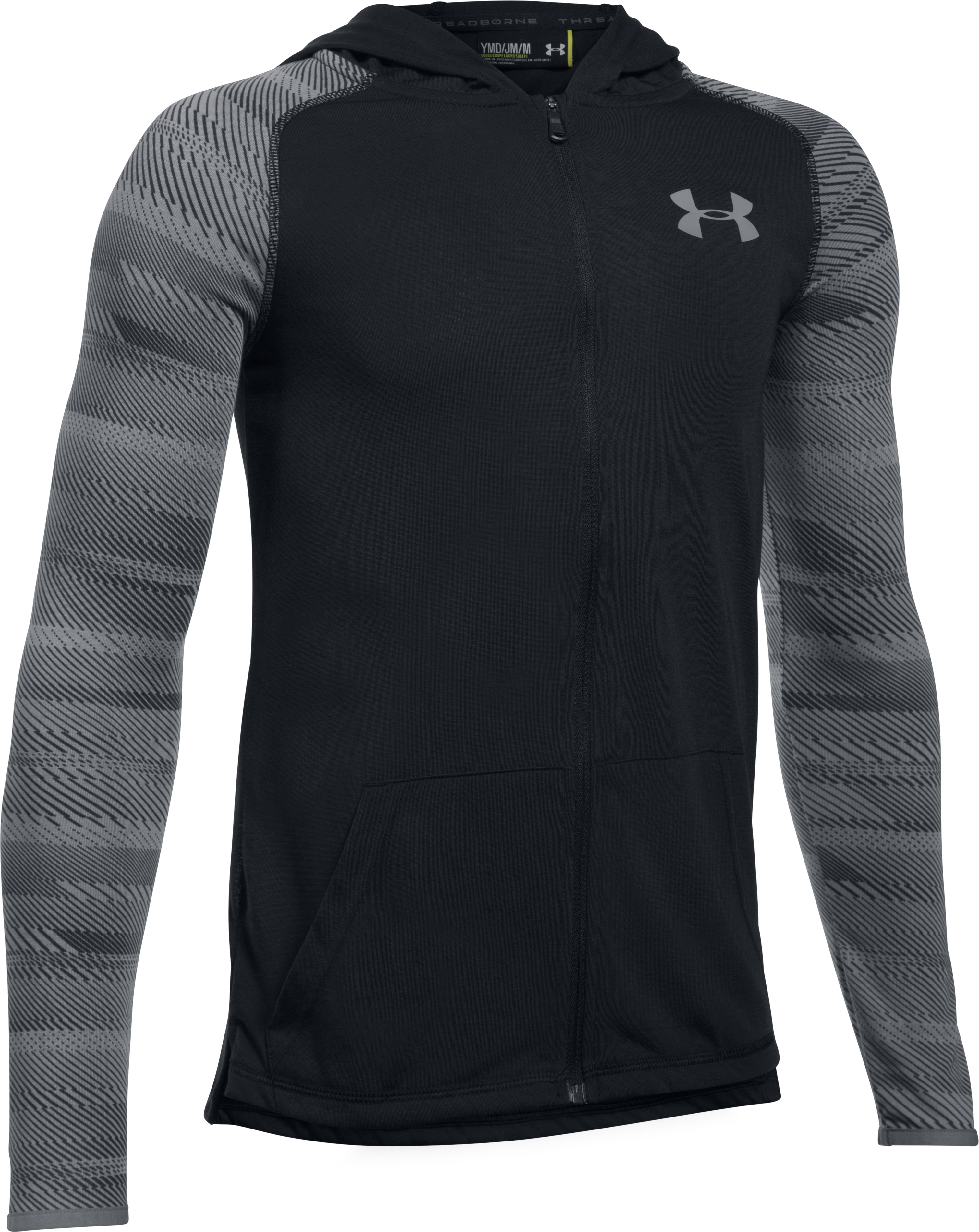 Boys' UA Threadborne™ Full Zip Hoodie, Black