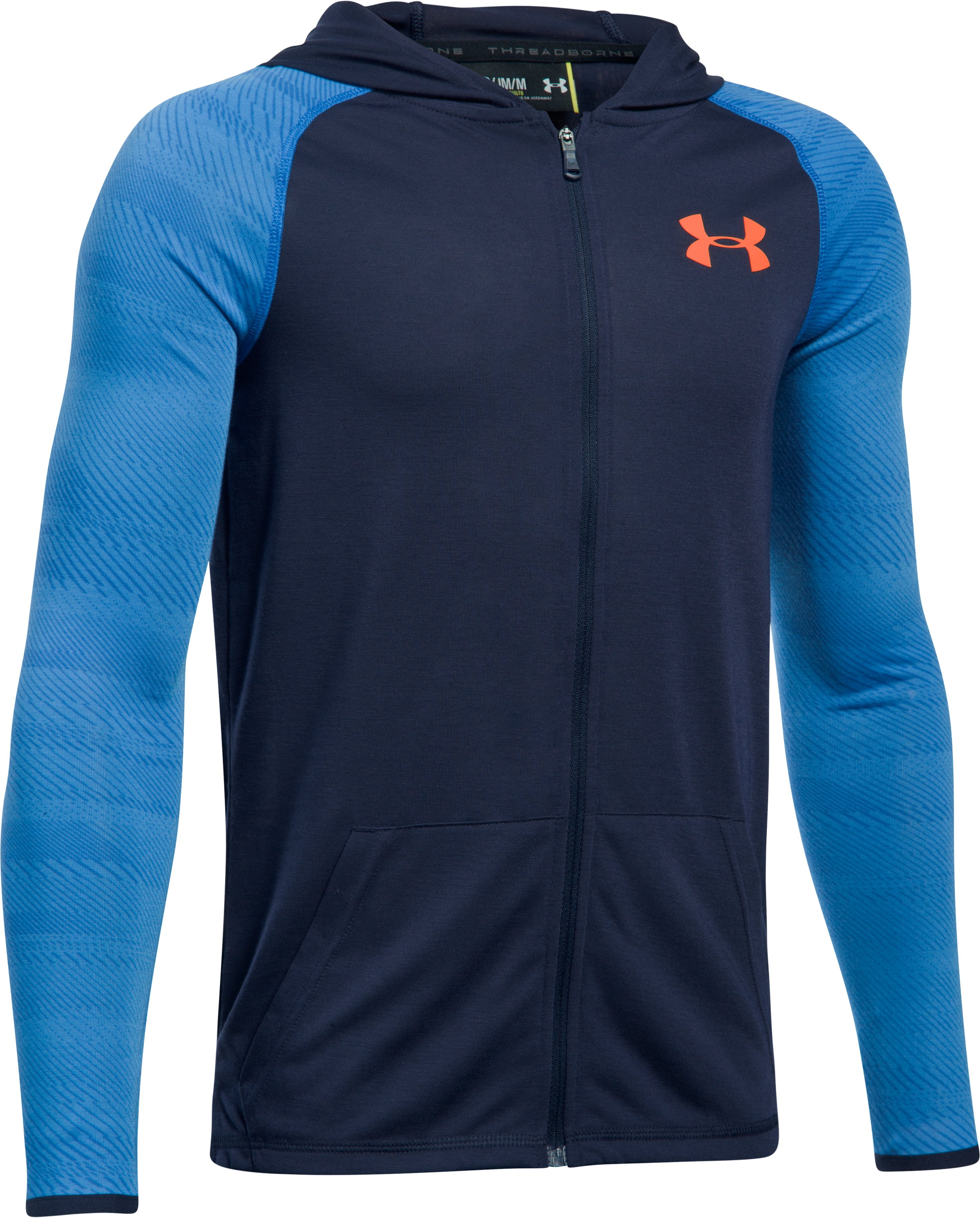 Boys' UA Threadborne™ Full Zip Hoodie, Midnight Navy