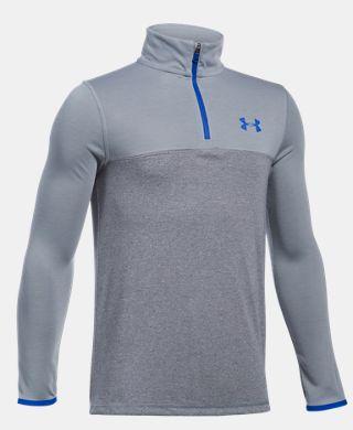 男童UA Threadborne 1/4拉鏈運動上衣