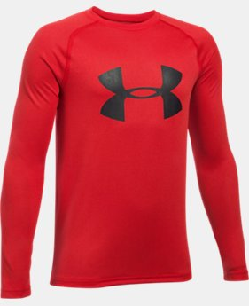 New to Outlet Boys' UA Big Logo Long Sleeve T-Shirt LIMITED TIME OFFER 1 Color $17.49