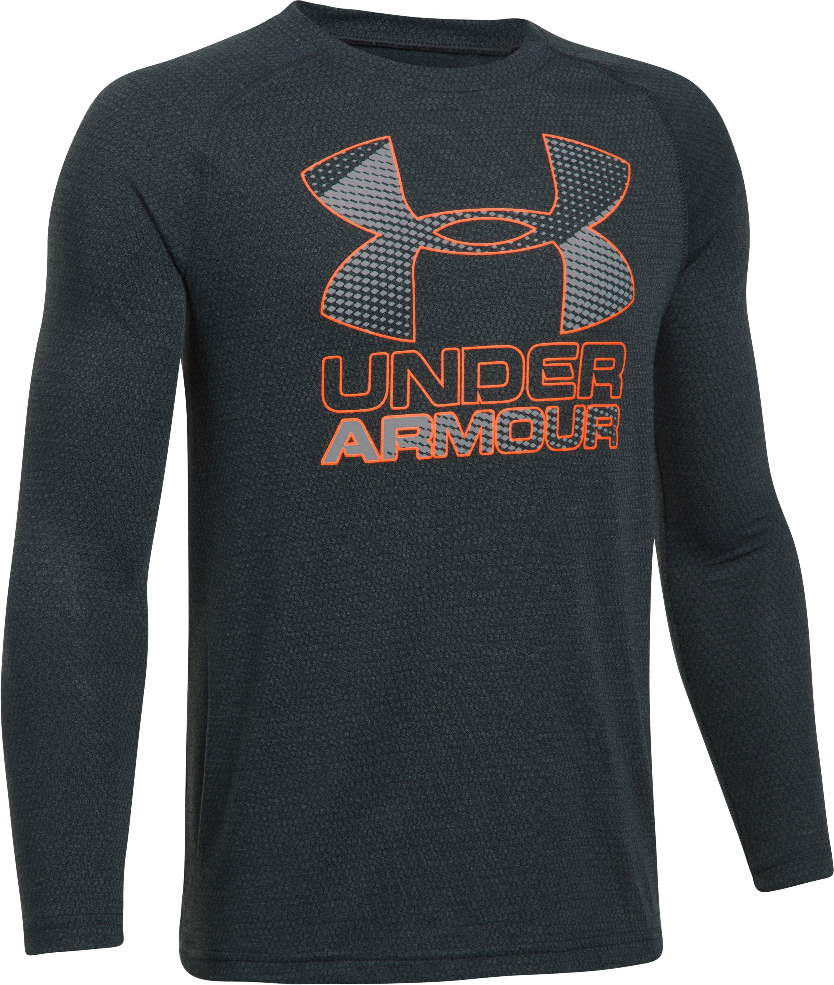 Boys' UA Hybrid Big Logo Long Sleeve T-Shirt, ANTHRACITE, undefined