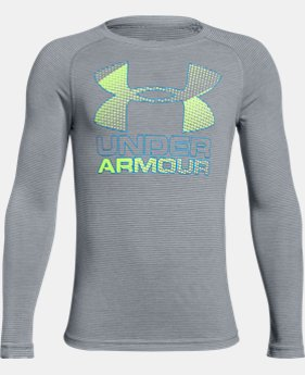 Boys' UA Hybrid Big Logo Long Sleeve T-Shirt  5 Colors $22.49