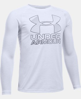 New to Outlet Boys' UA Hybrid Big Logo Long Sleeve T-Shirt LIMITED TIME OFFER 2 Colors $20.99