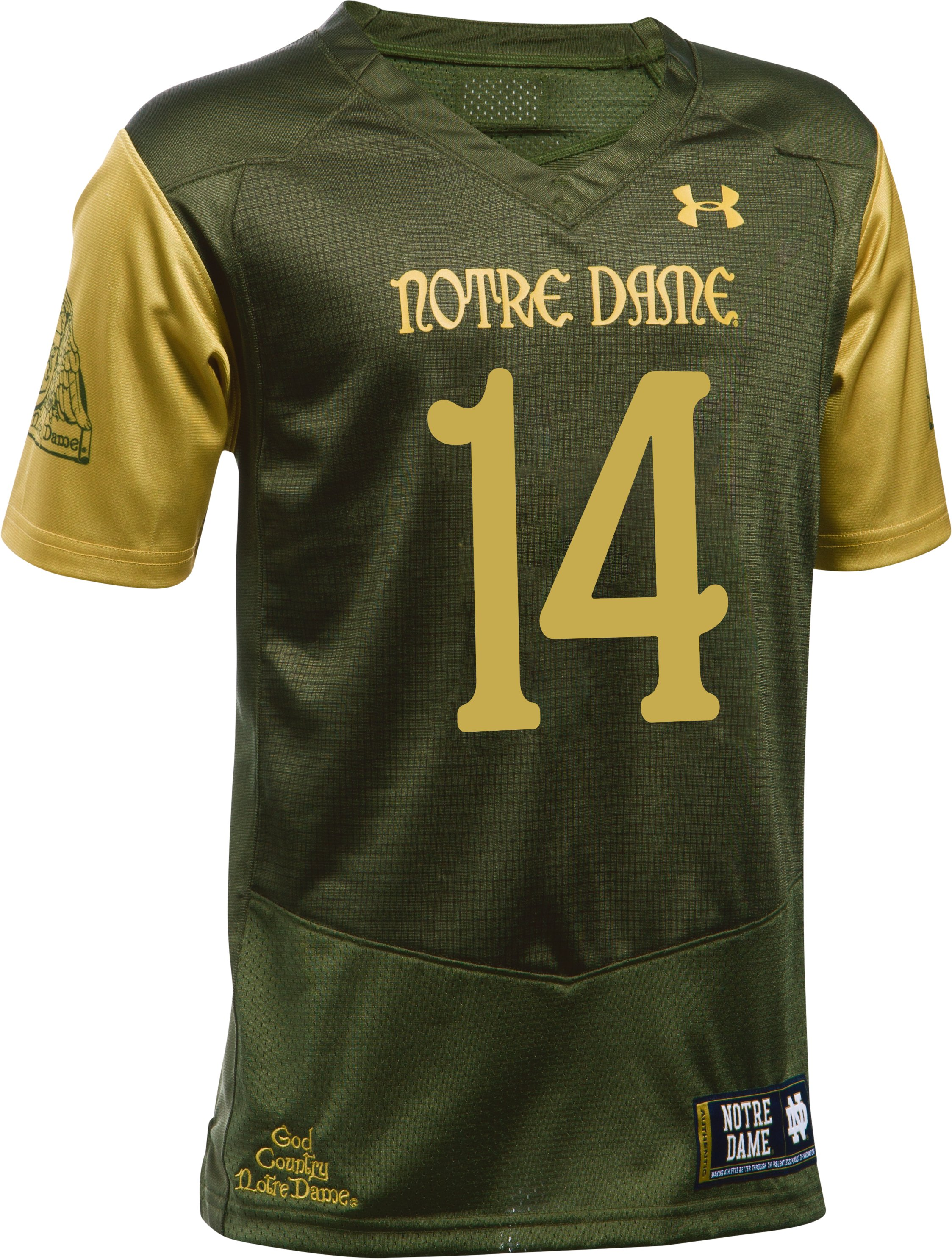Kids' Notre Dame Shamrock Series UA Replica Football Jersey, Root,
