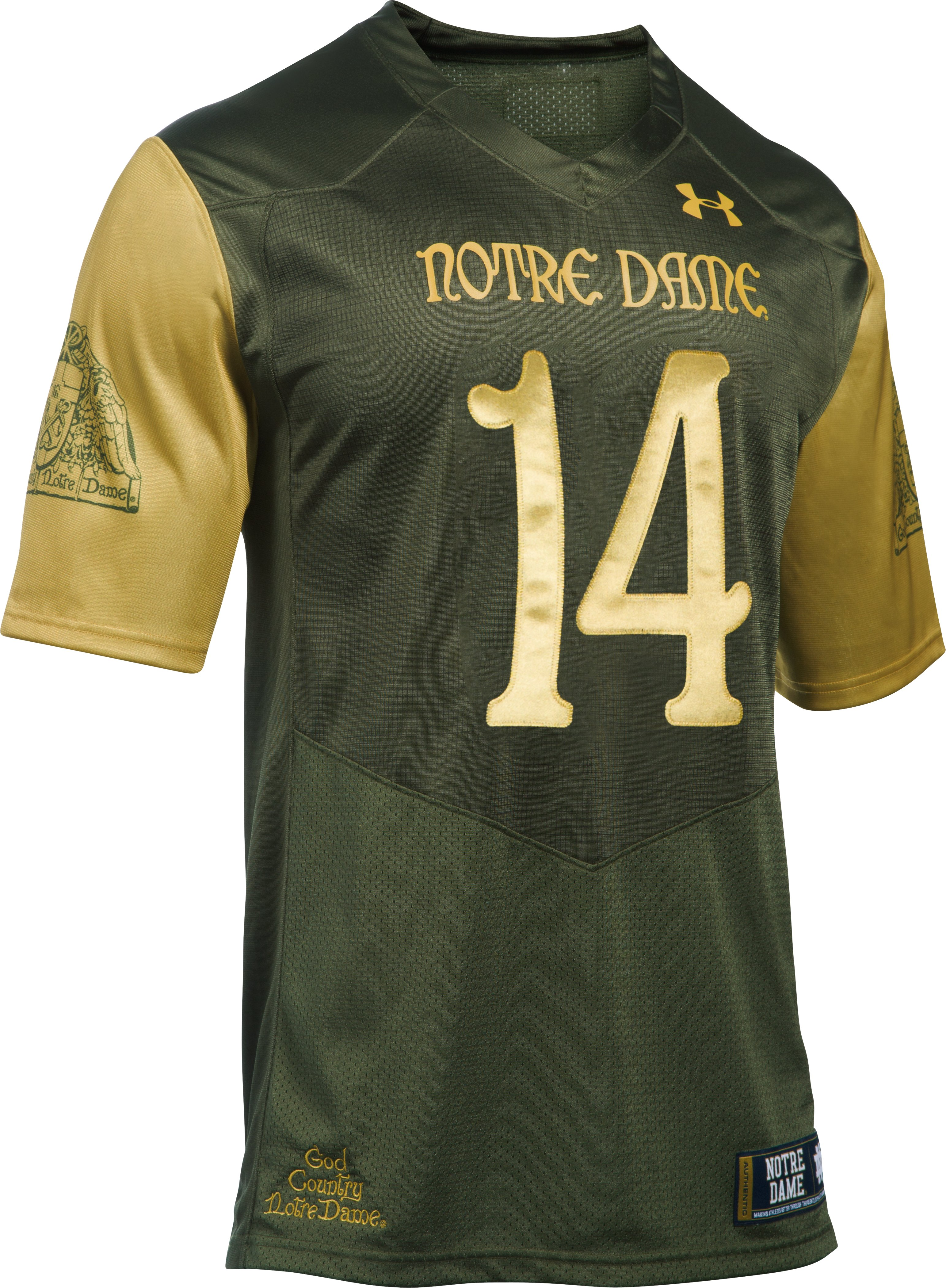 Men's Notre Dame Shamrock Series UA Premier Football Jersey, Root