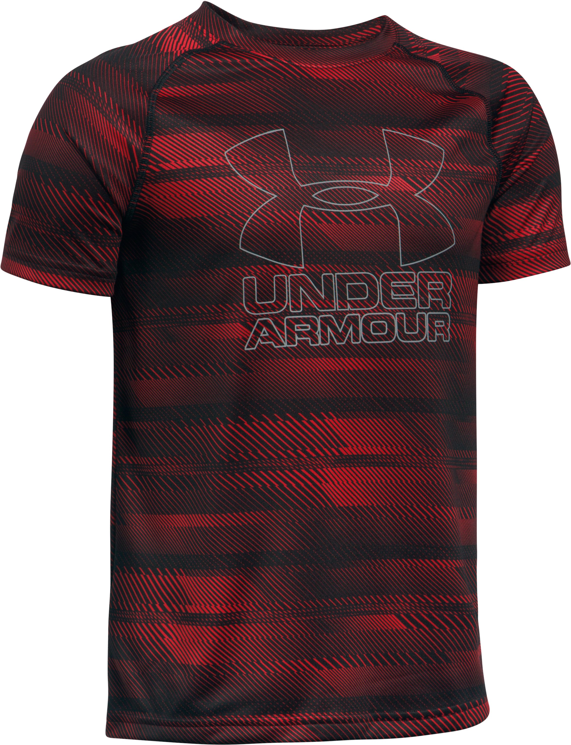Boys' UA Big Logo Hybrid Printed T-Shirt, Red