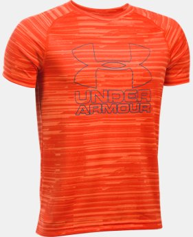 Best Seller Boys' UA Big Logo Hybrid Printed T-Shirt  1 Color $14.99 to $18.99
