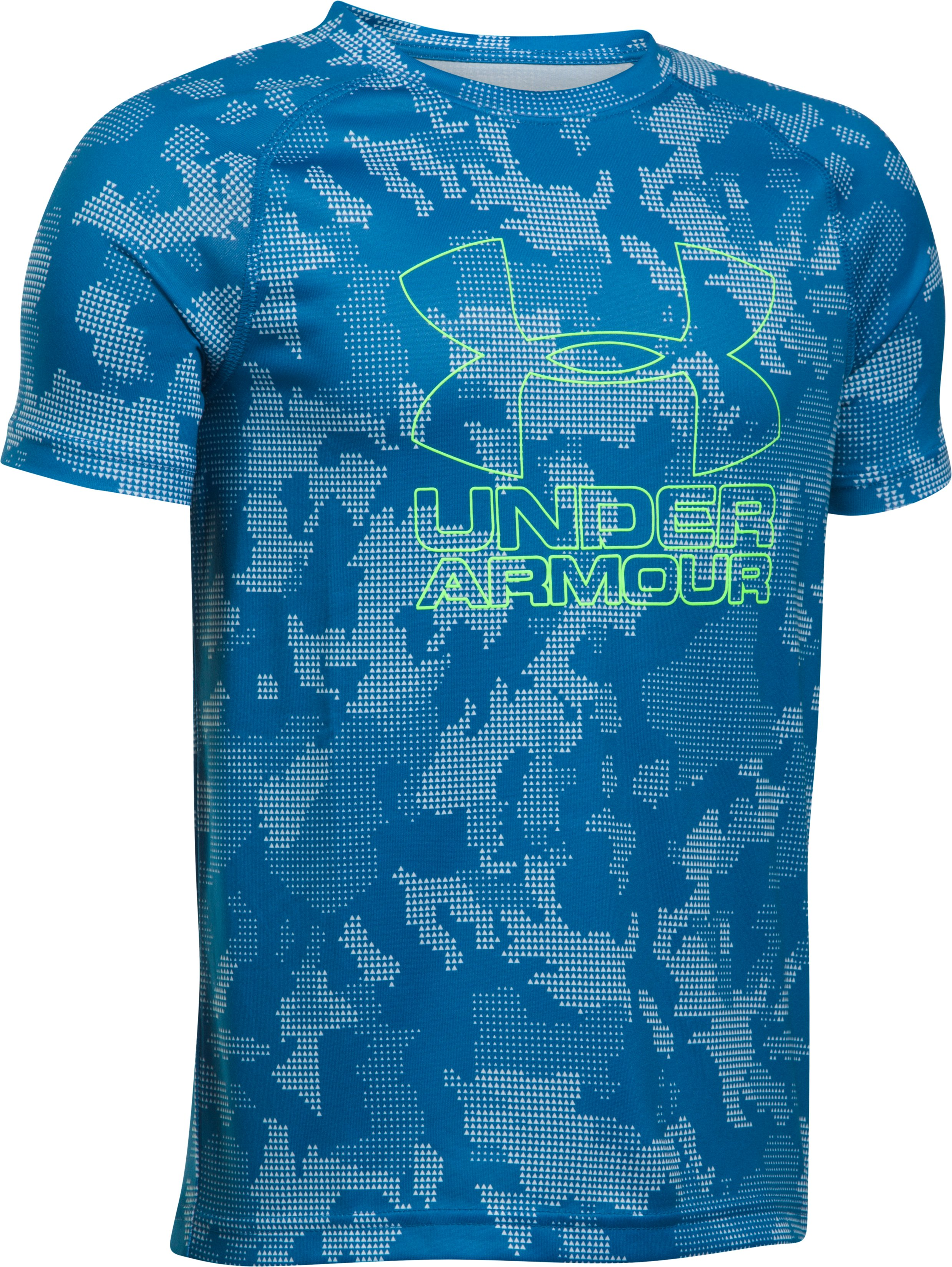 Boys' UA Big Logo Hybrid Printed T-Shirt, CRUISE BLUE,