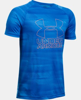 Best Seller Boys' UA Big Logo Hybrid Printed T-Shirt  2 Colors $19.99