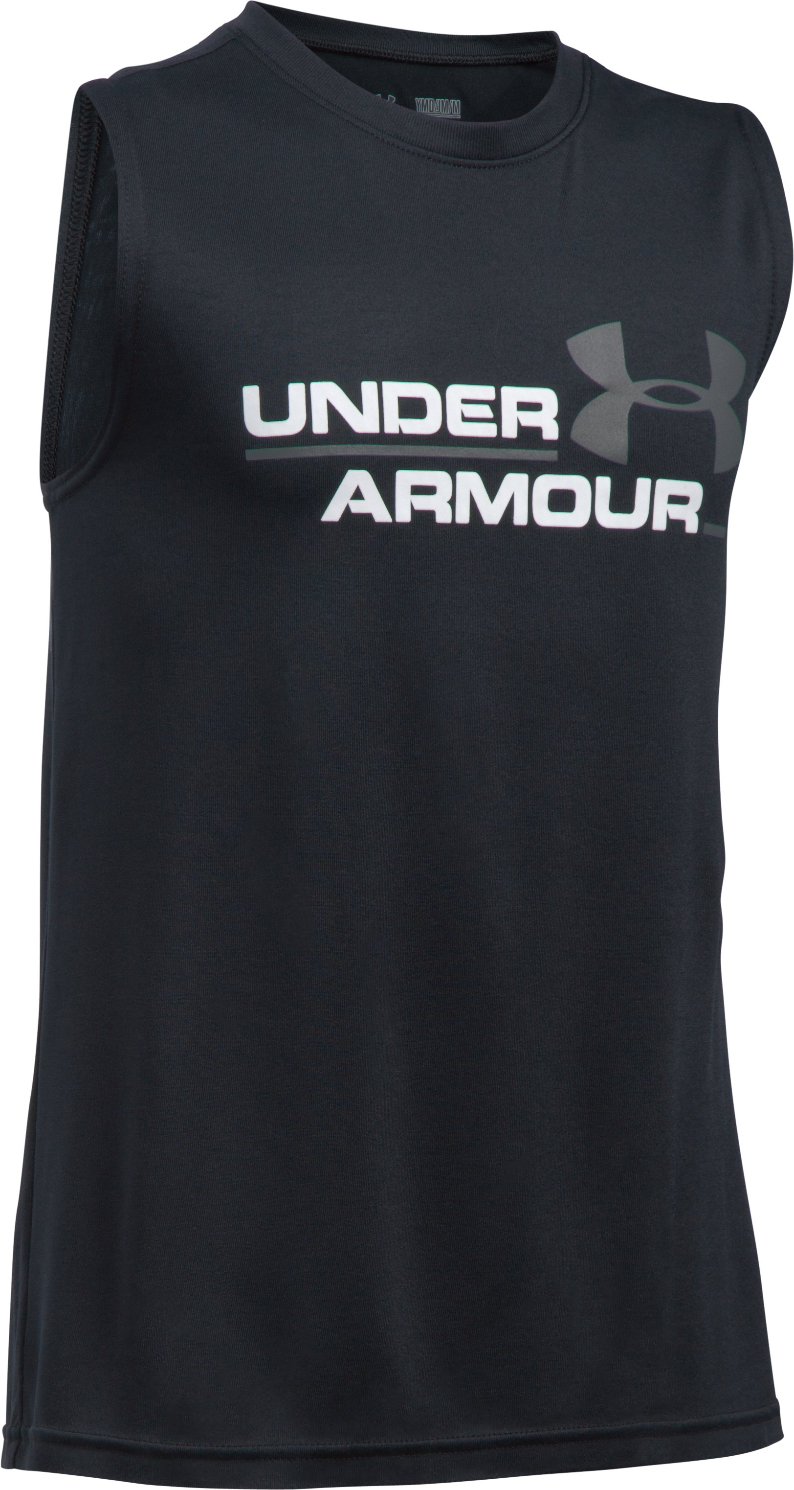 Boys' UA Double Header Tank, Black ,