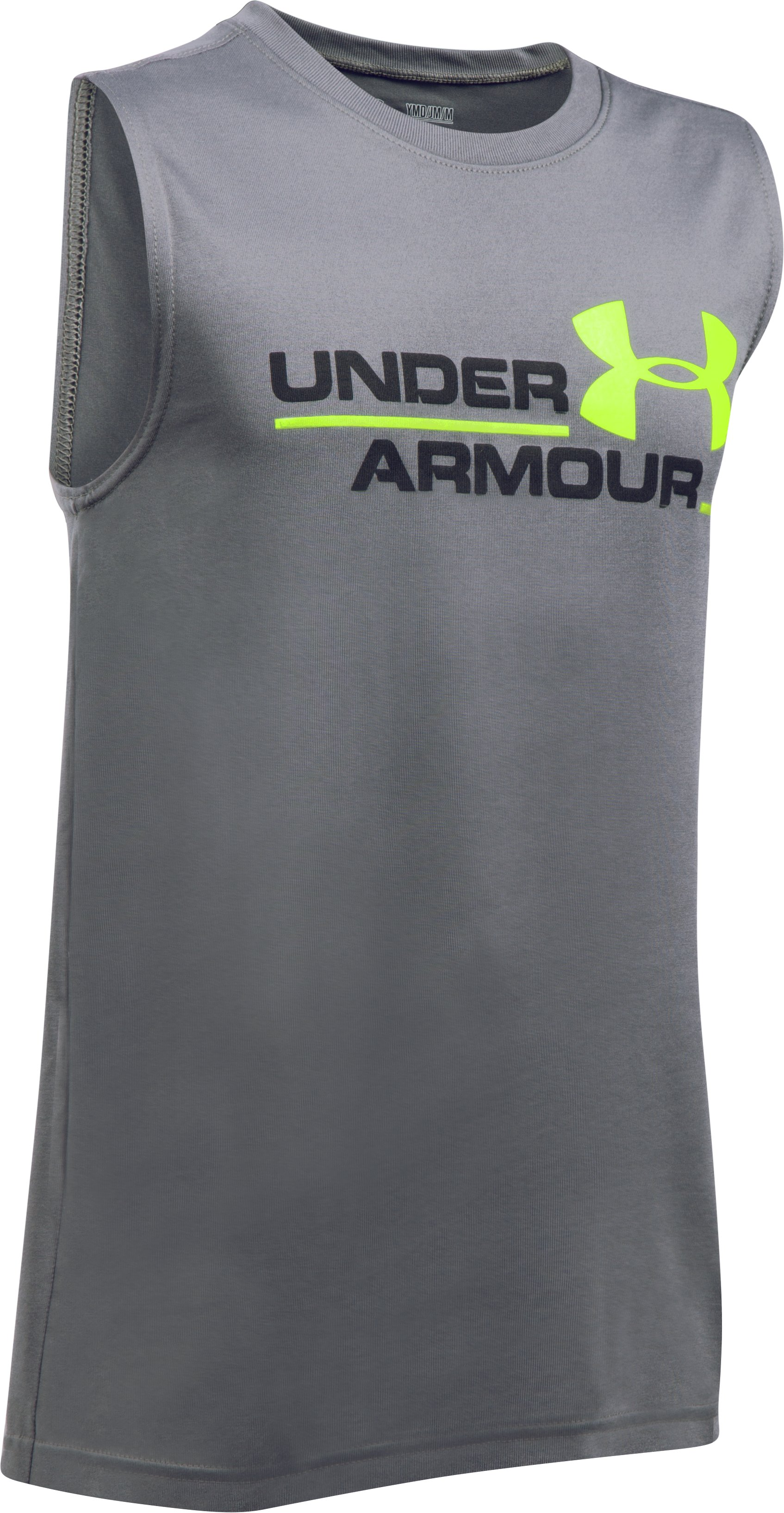 Boys' UA Double Header Tank, Graphite, undefined