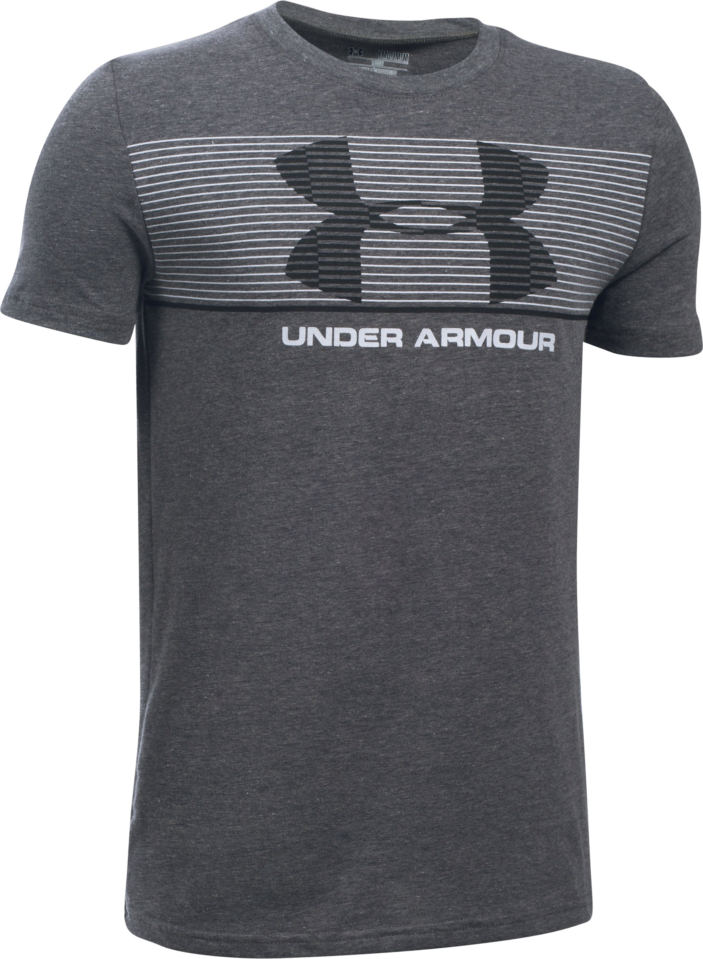 Boys' UA Chest Stripe T-Shirt, Carbon Heather, undefined