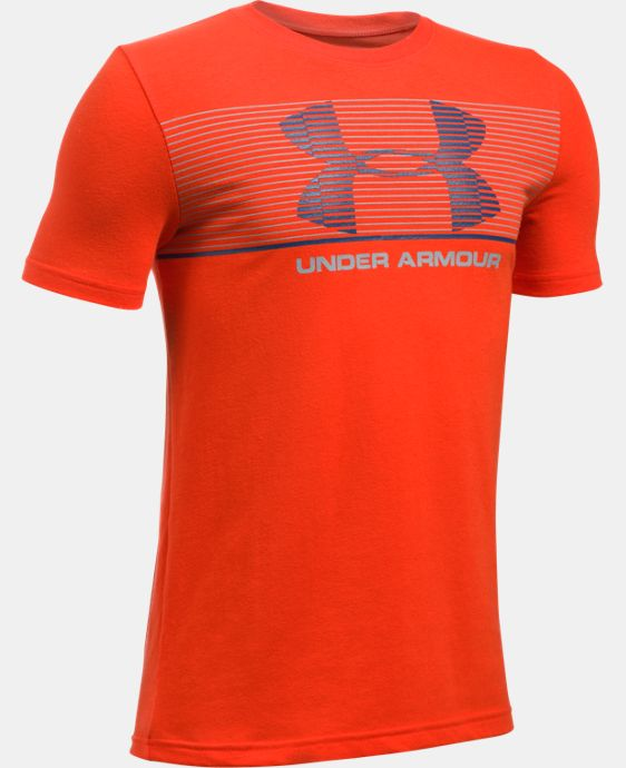 New Arrival  Boys' UA Chest Stripe T-Shirt  1 Color $22.99