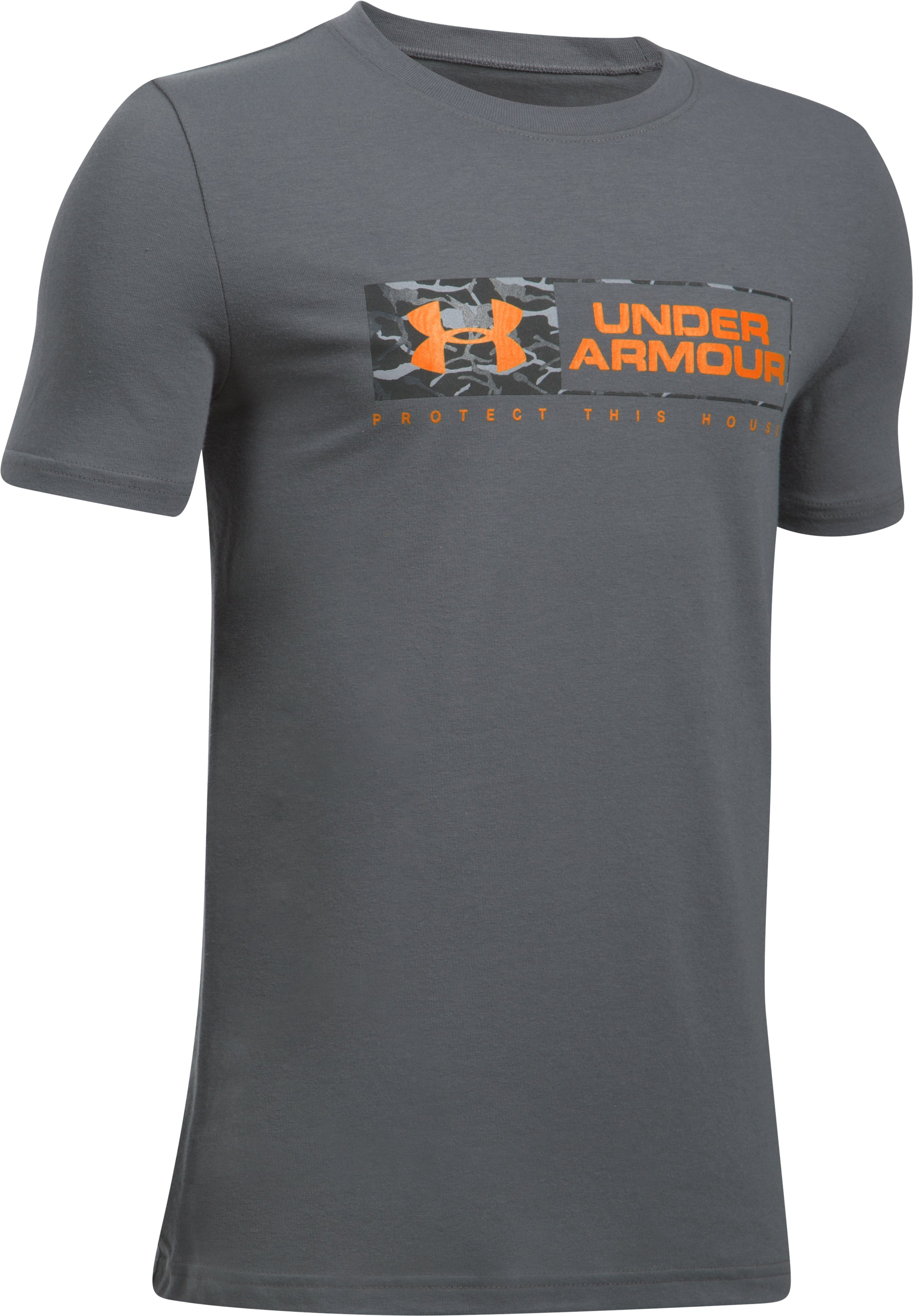 Boys' UA Knockout Bar Wordmark T-Shirt, Graphite, undefined