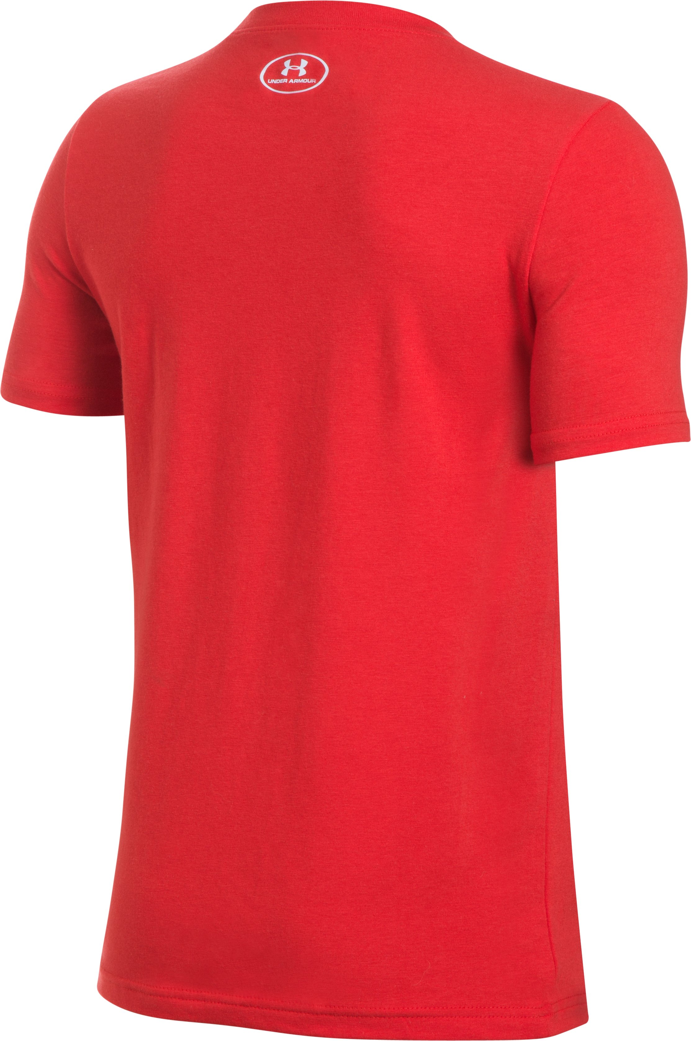 Boys' UA Knockout Bar Wordmark T-Shirt, Red, undefined