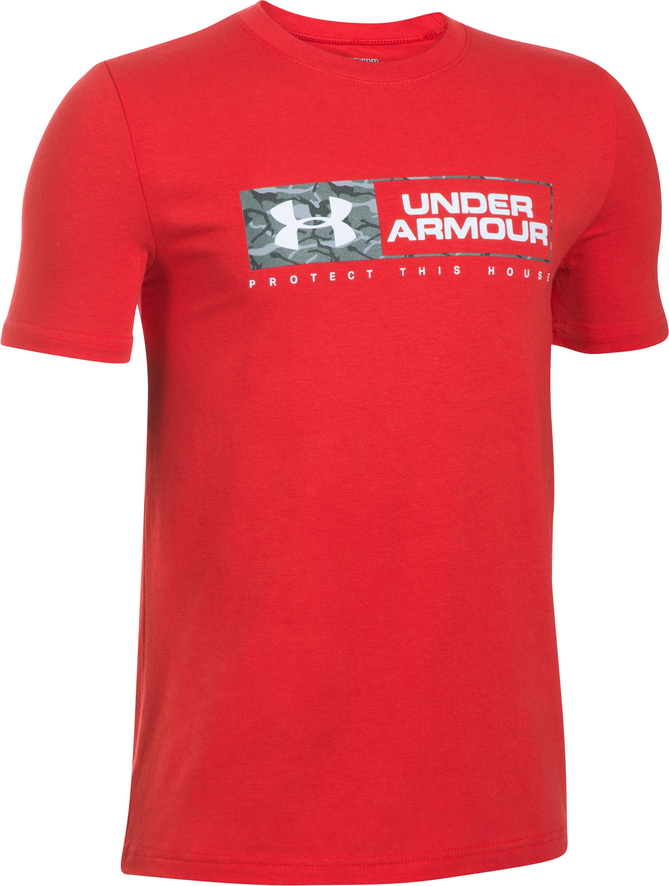 Boys' UA Knockout Bar Wordmark T-Shirt, Red