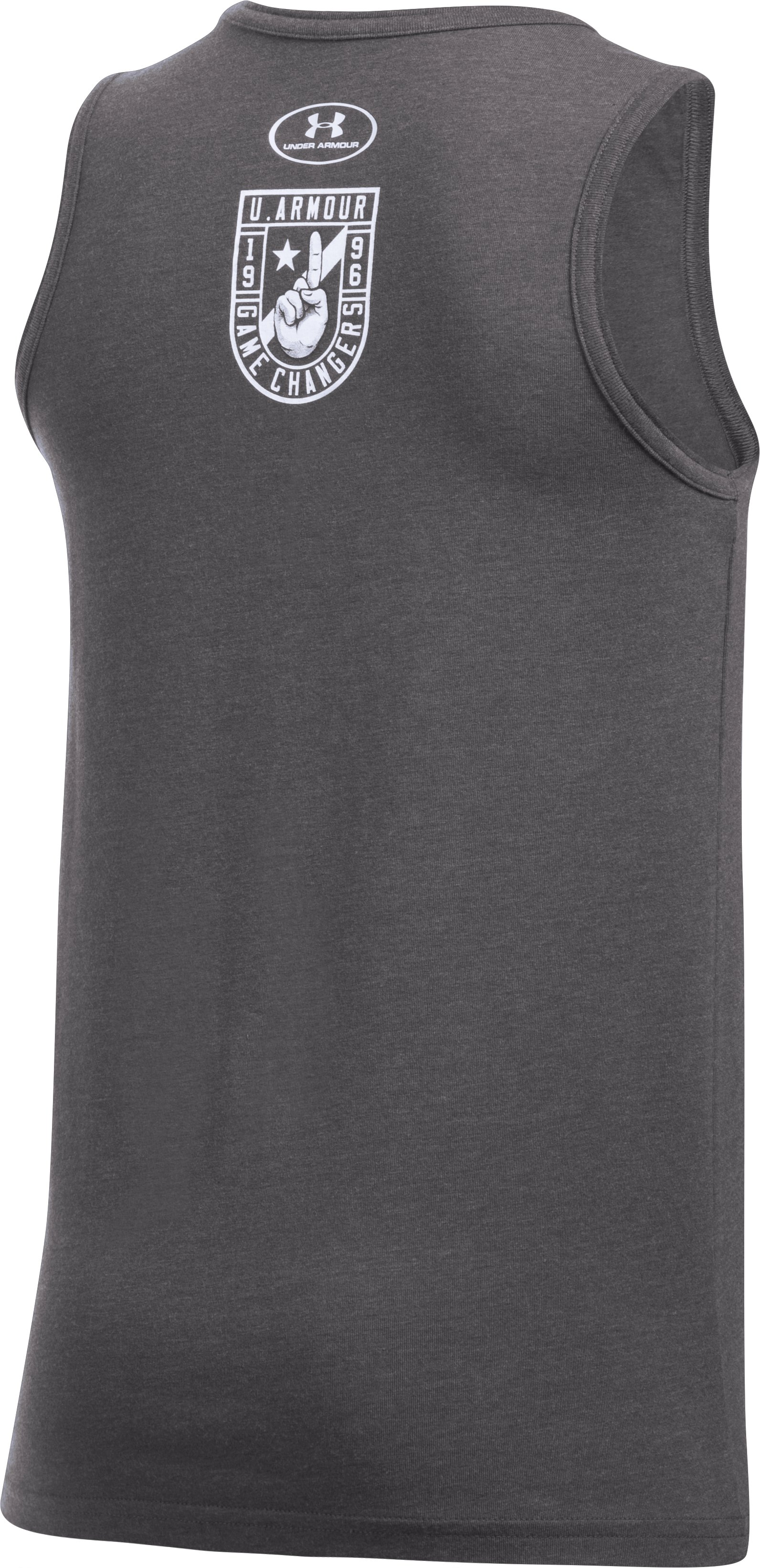 Boys' UA Badge Tank, Carbon Heather,