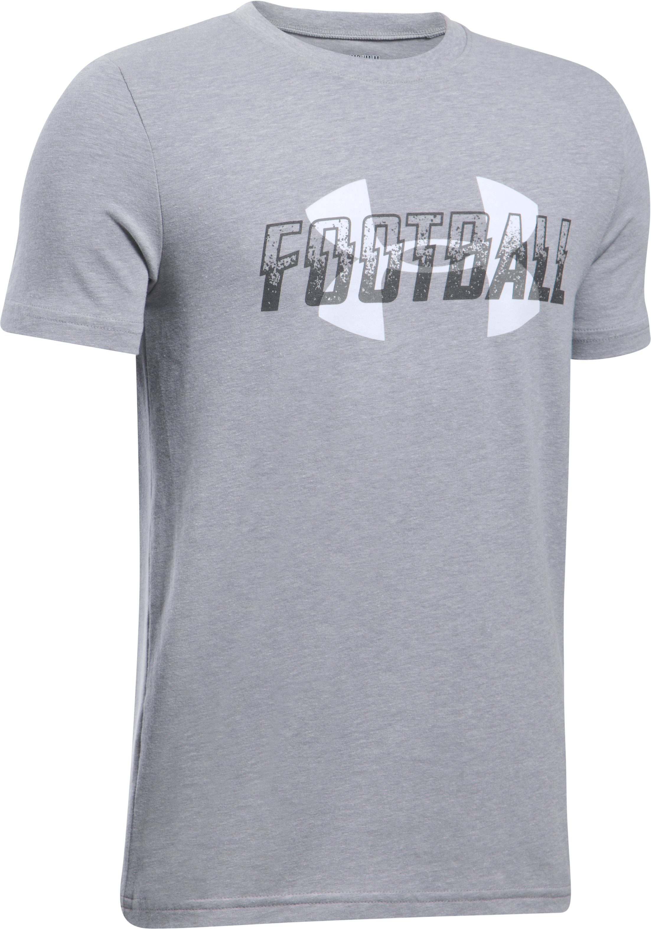 Boys' UA Football Overlay T-Shirt, True Gray Heather