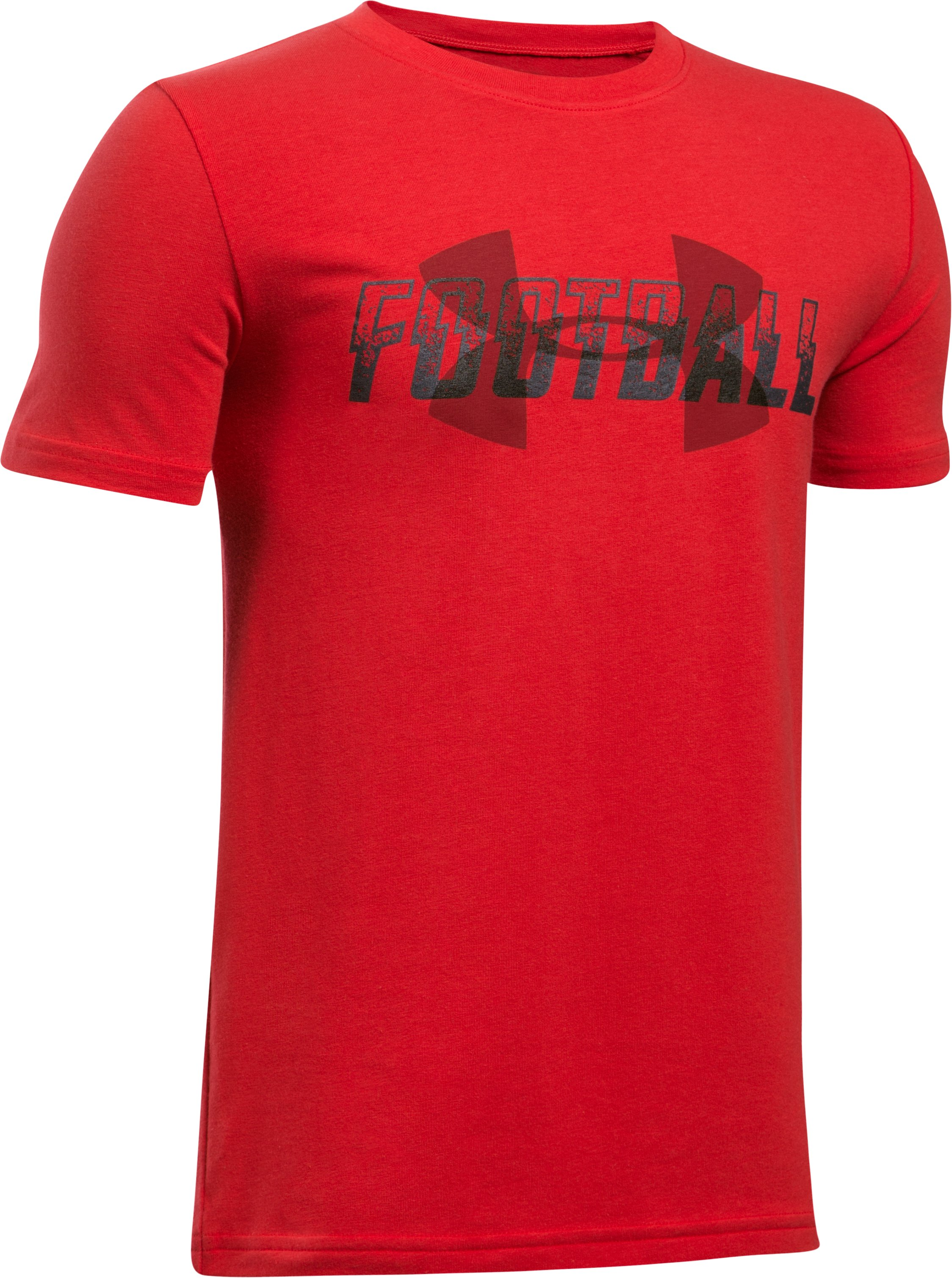 Boys' UA Football Overlay T-Shirt, Red, zoomed image