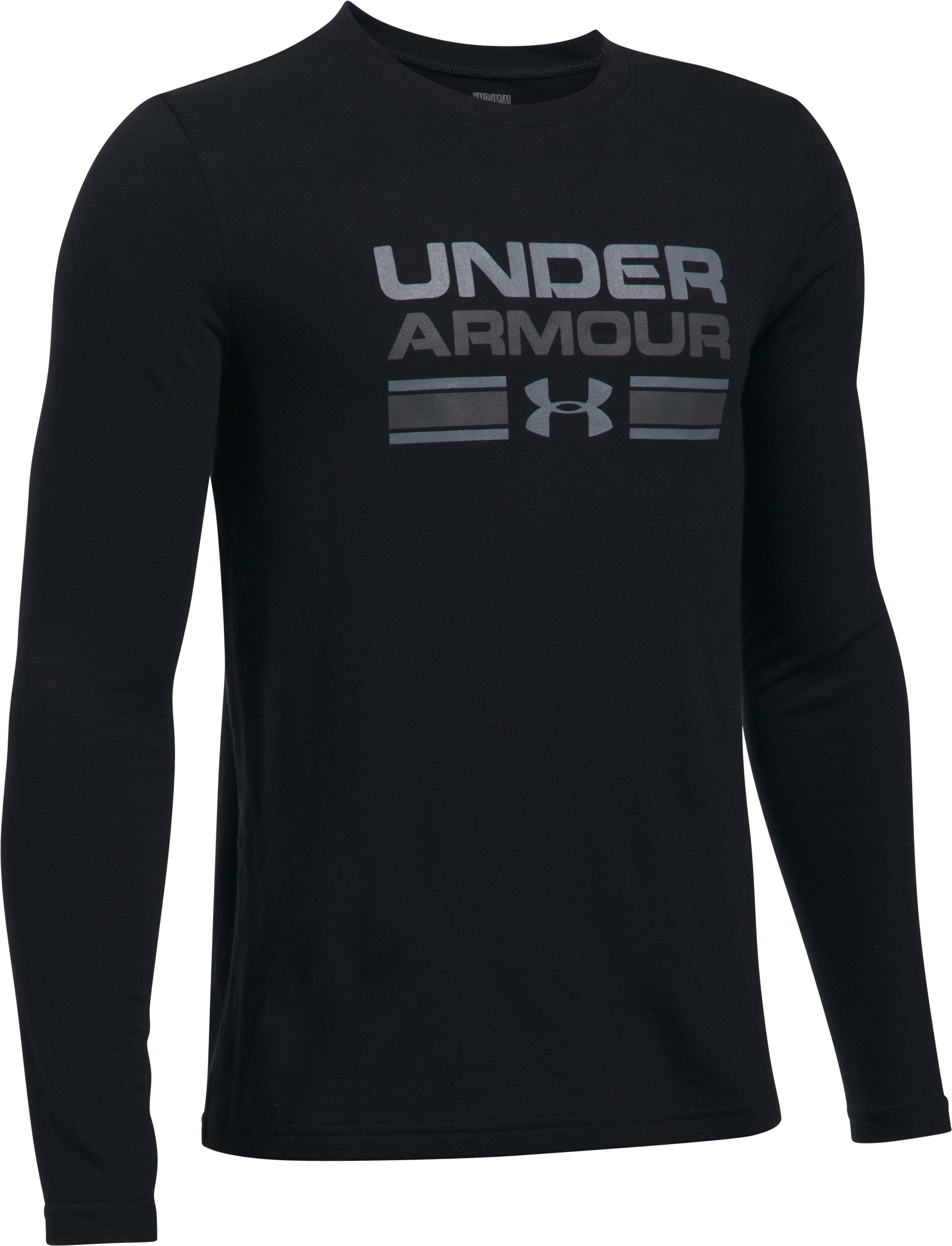 Boys' UA Crossbar Logo Long Sleeve T-Shirt, Black , undefined