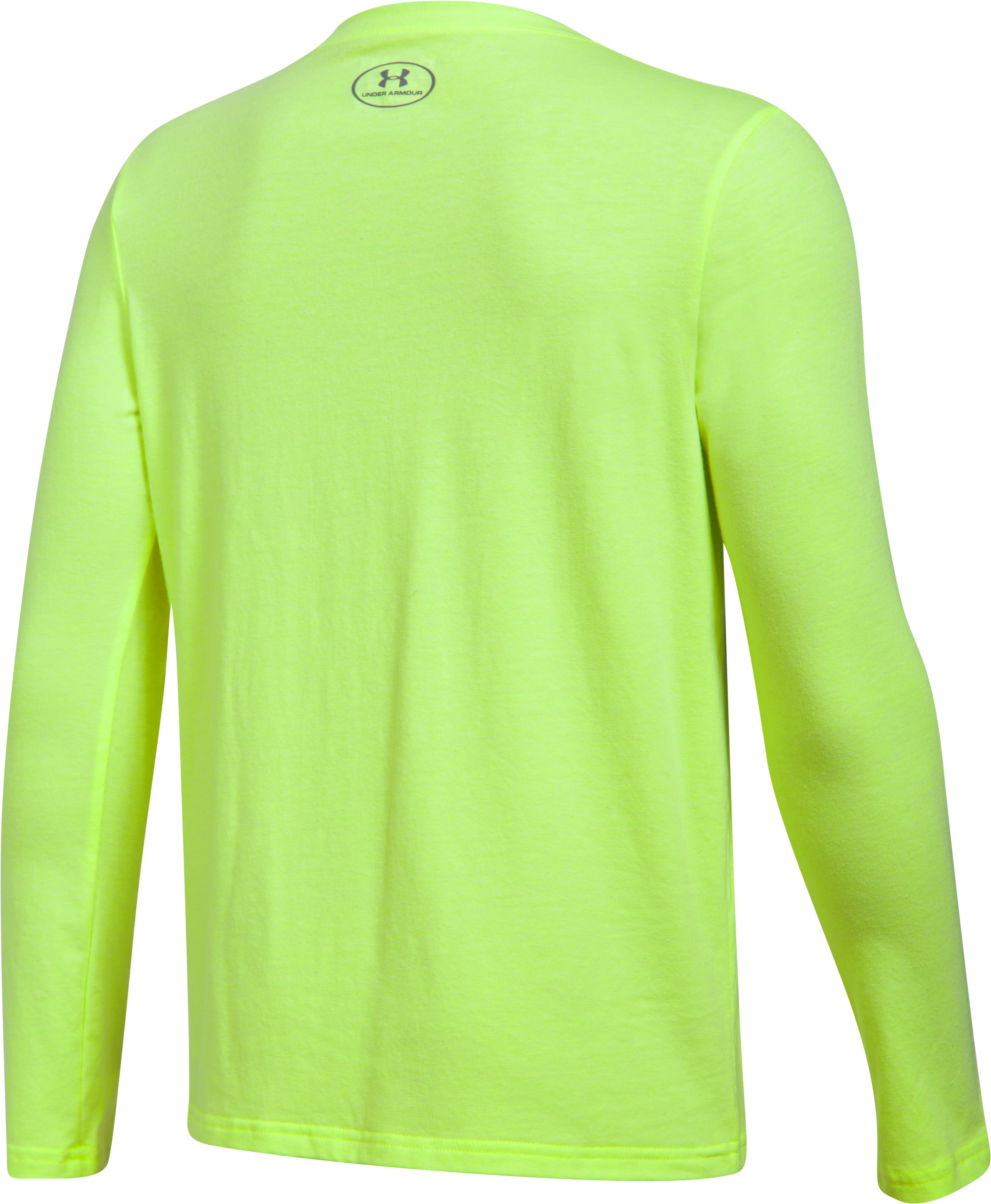 Boys' UA Crossbar Logo Long Sleeve T-Shirt, QUIRKY LIME LIGHT HEATHER,