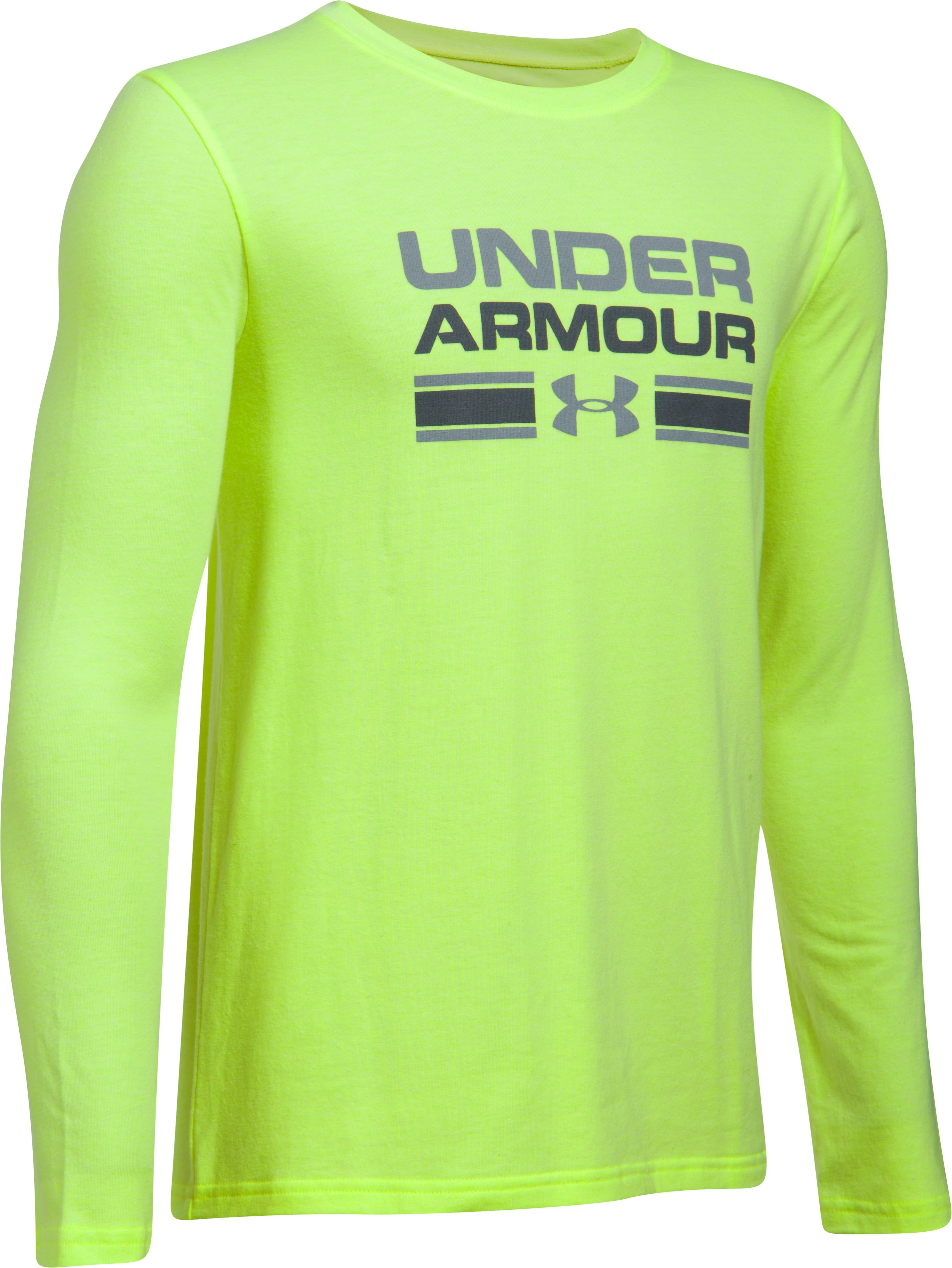 Boys' UA Crossbar Logo Long Sleeve T-Shirt, QUIRKY LIME LIGHT HEATHER