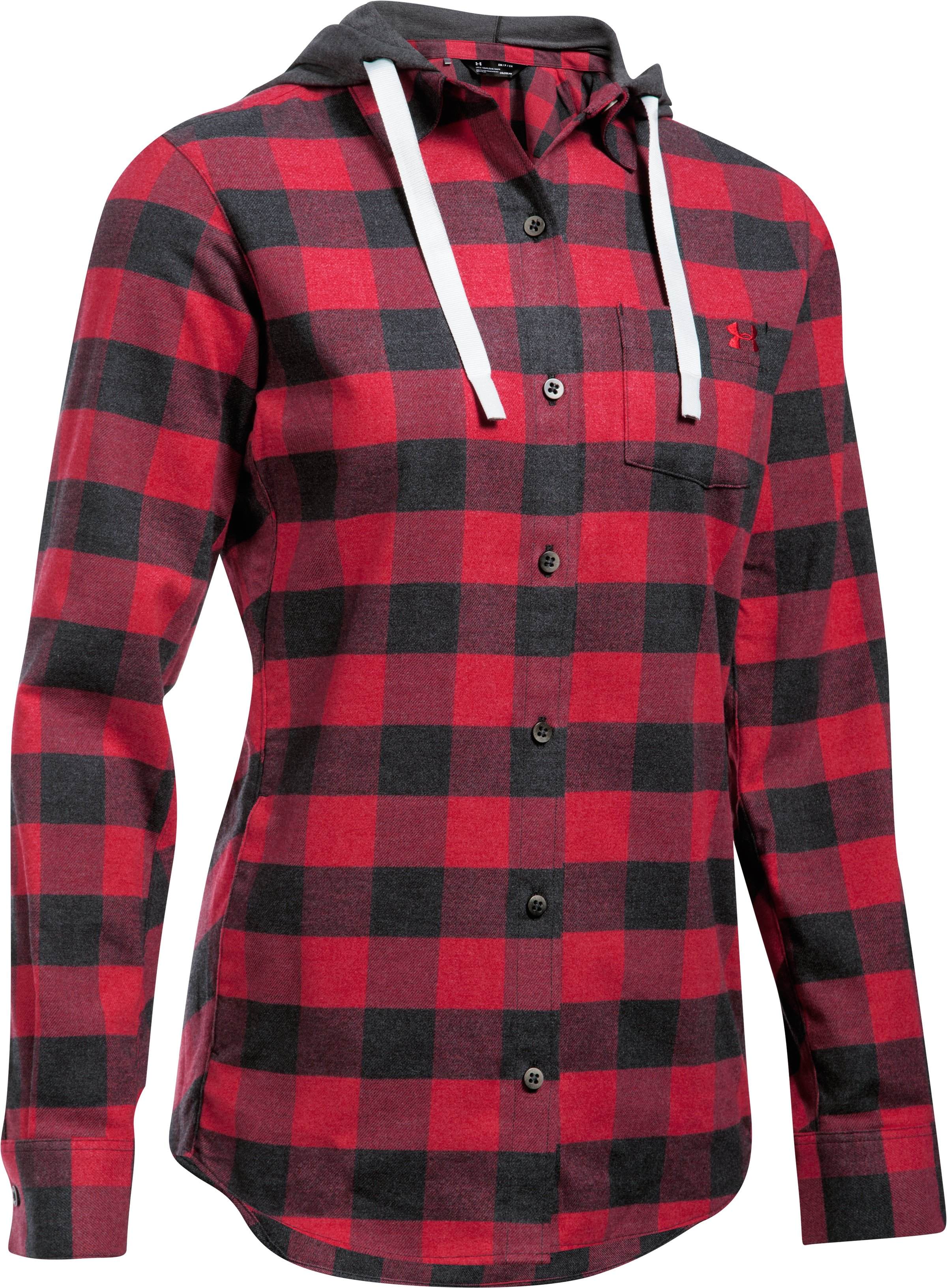 Women's UA Borderland Flannel Swacket, Black ,