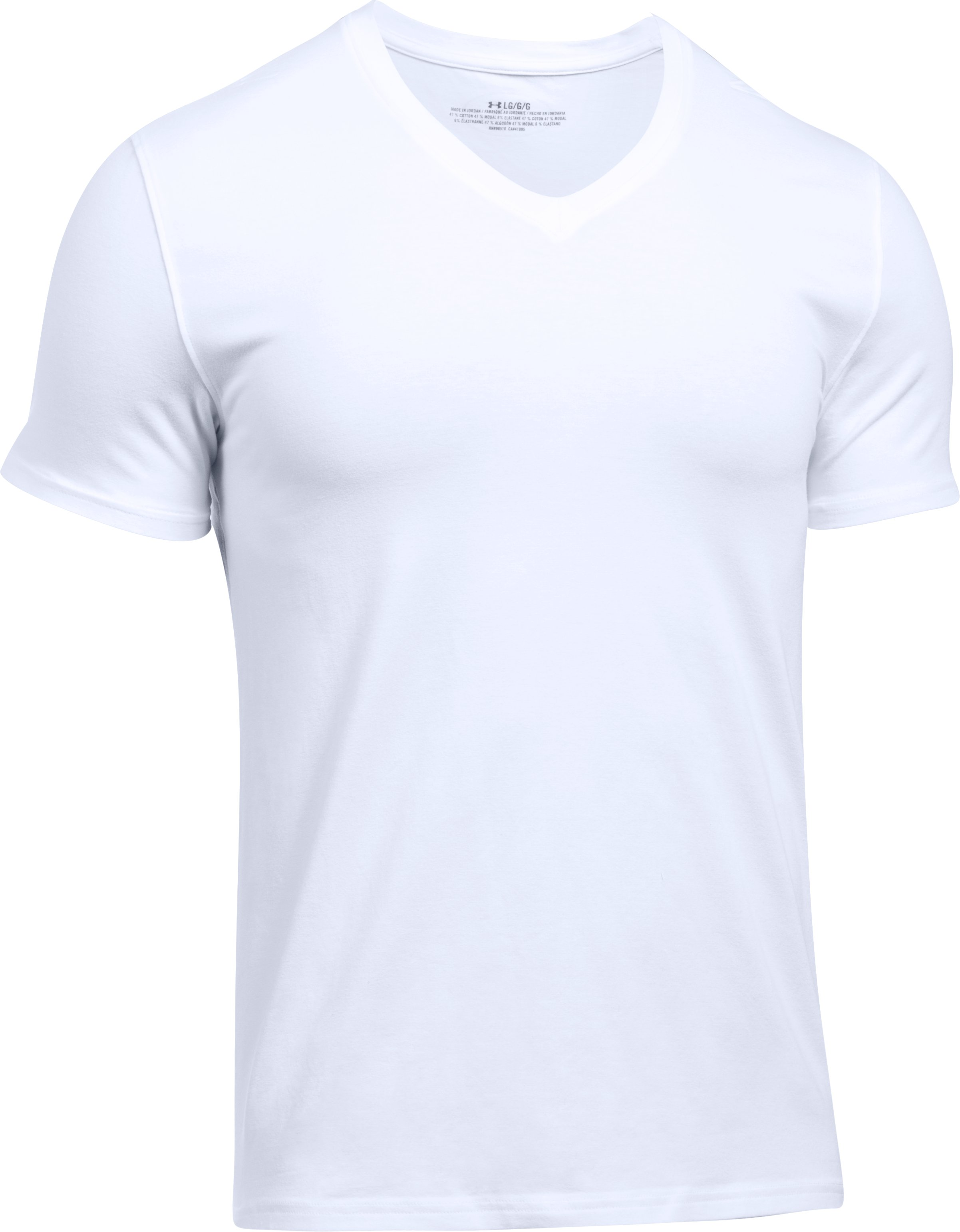 Men's Charged Cotton® V-Neck Undershirt – 2-Pack, White, undefined