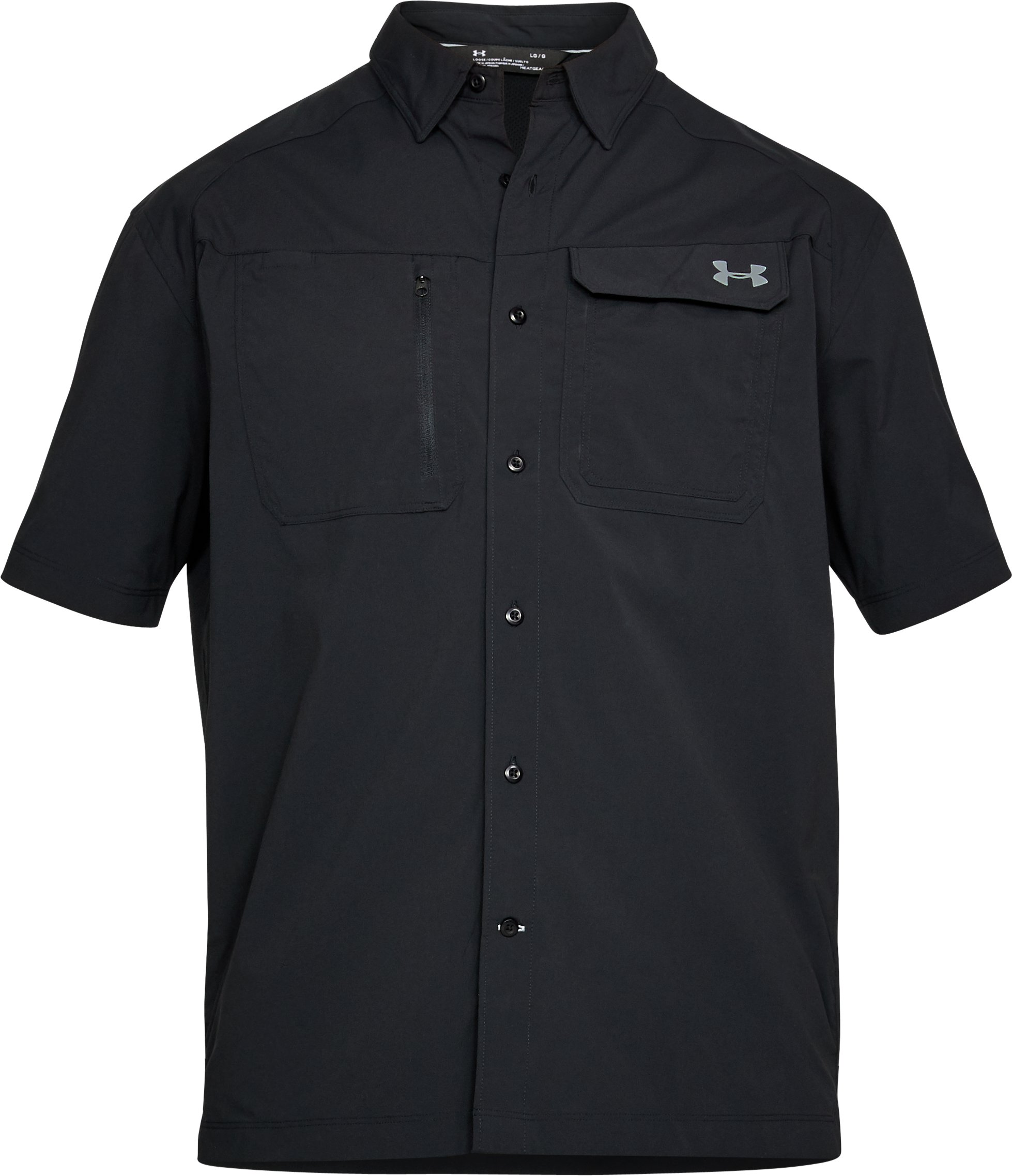 Men's UA Fish Hunter Solid Short Sleeve, Black ,