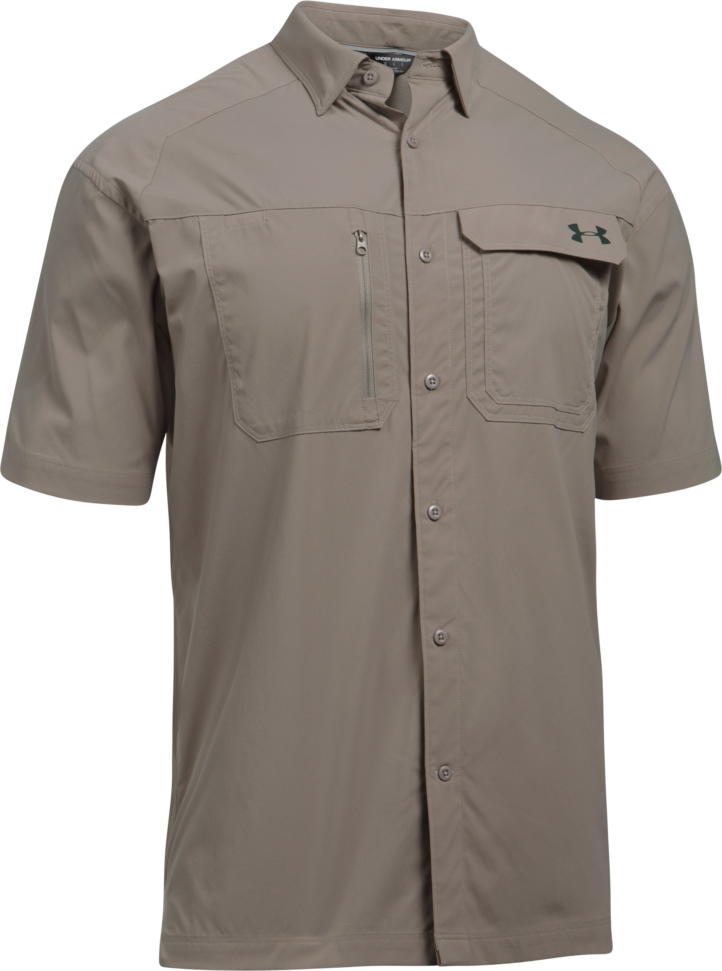 Men's UA Fish Hunter Solid Short Sleeve, STONELEIGH TAUPE,