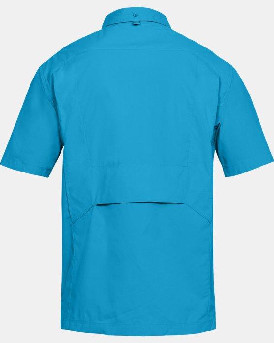Men's UA Fish Hunter Solid Short Sleeve, Blue, pdpMainDesktop image number 4