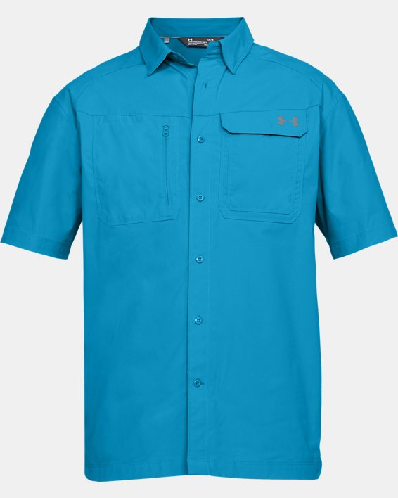 Men's UA Fish Hunter Solid Short Sleeve, Blue, pdpMainDesktop image number 3