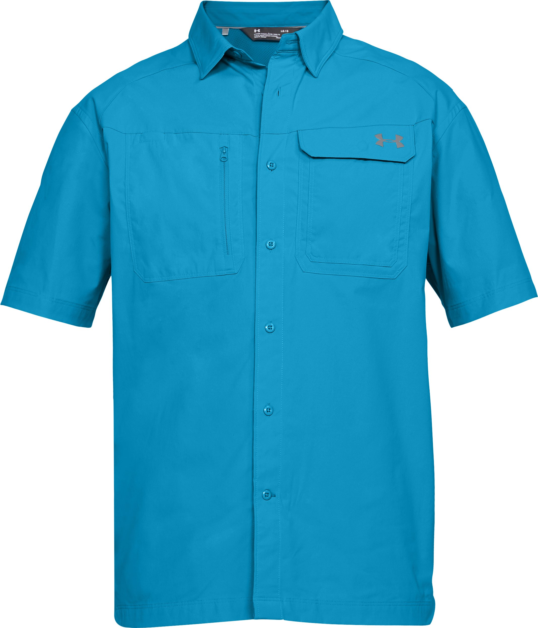 Men's UA Fish Hunter Solid Short Sleeve, CANOE BLUE, undefined