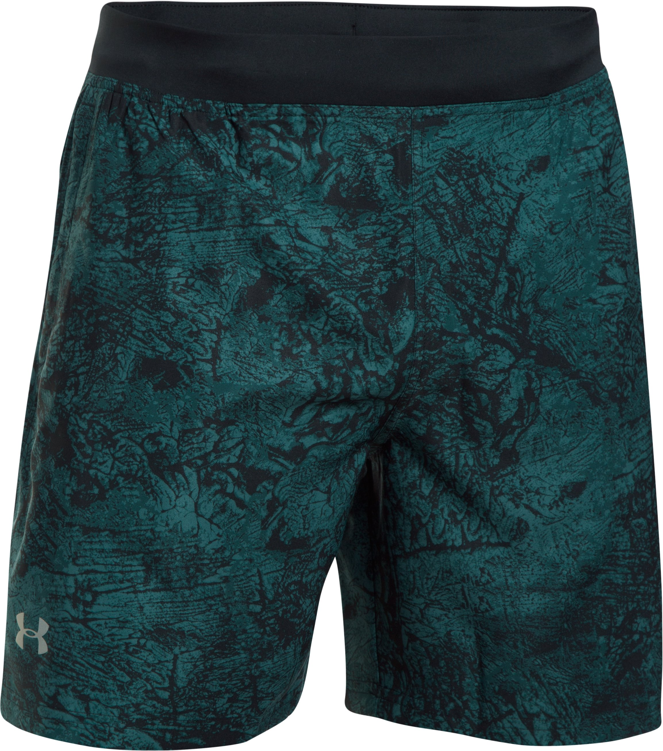 "Men's UA Speedpocket Printed 7"" Shorts, ARDEN GREEN, undefined"