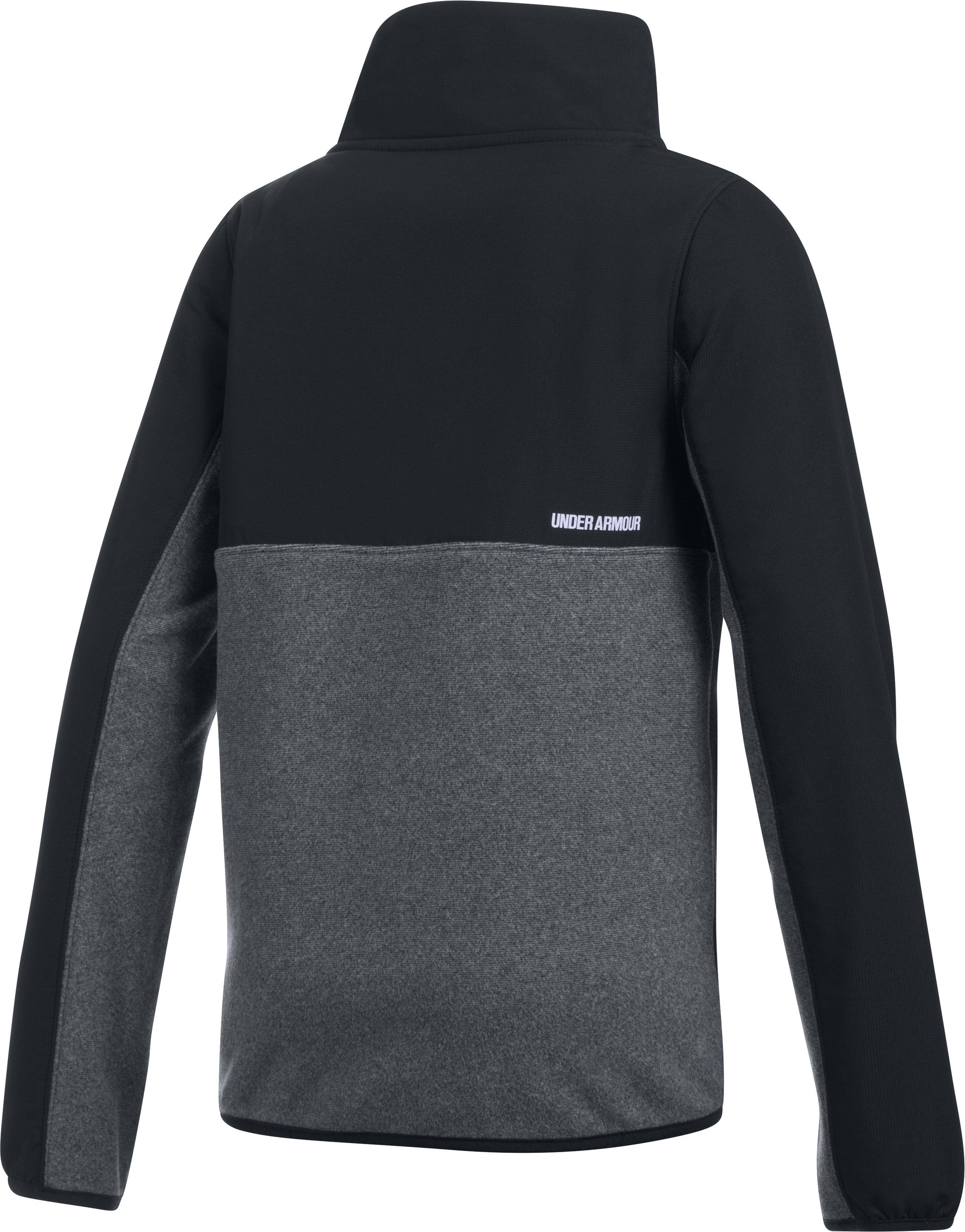 Girls' UA Phenom Fleece ½ Snap, Black ,