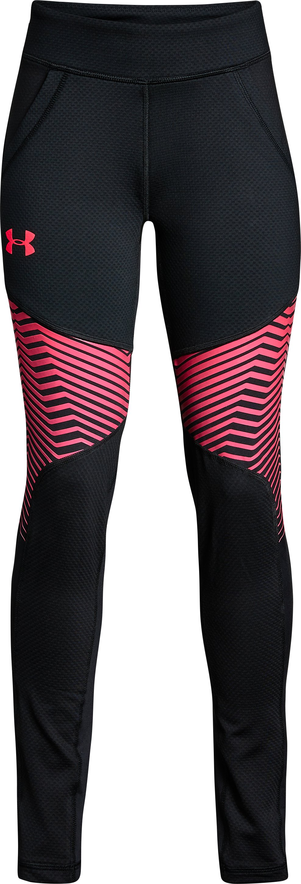 Girls' ColdGear® Reactor Leggings, Black , undefined
