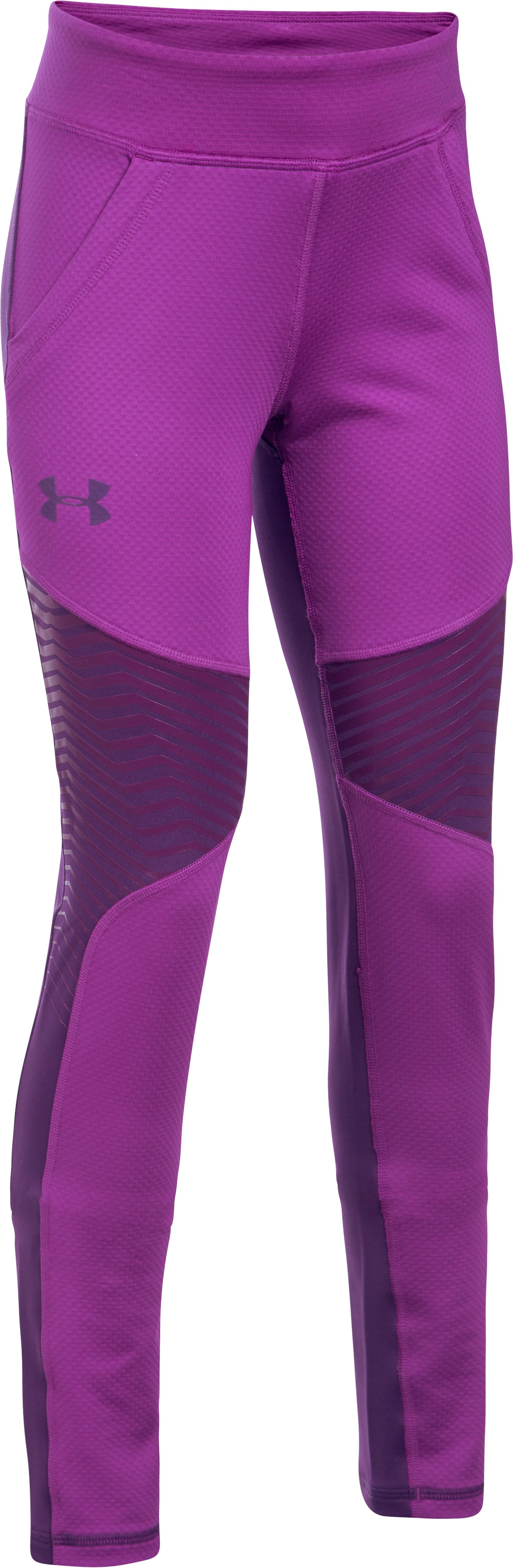 Girls' ColdGear® Reactor Leggings, PURPLE RAVE