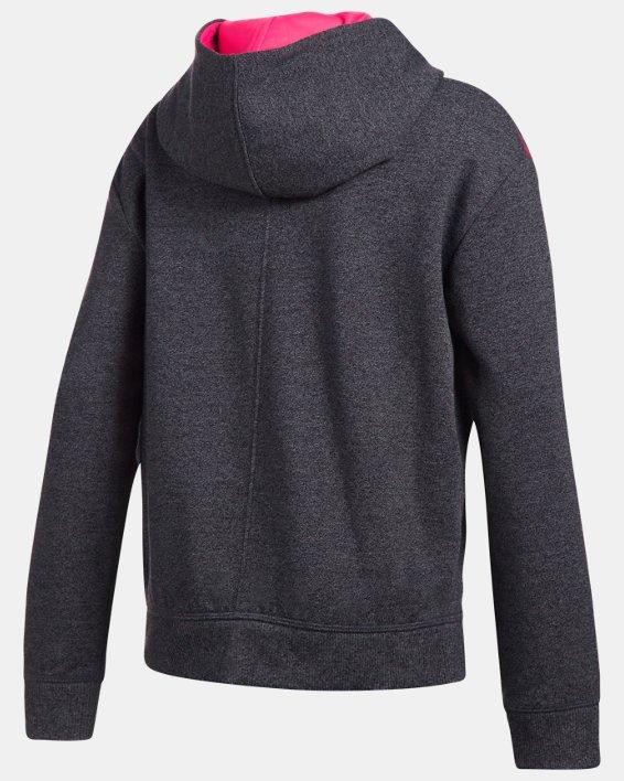 Girls' UA Threadborne™ Printed Fleece Hoodie, Black, pdpMainDesktop image number 1
