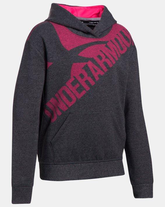 Girls' UA Threadborne™ Printed Fleece Hoodie, Black, pdpMainDesktop image number 0