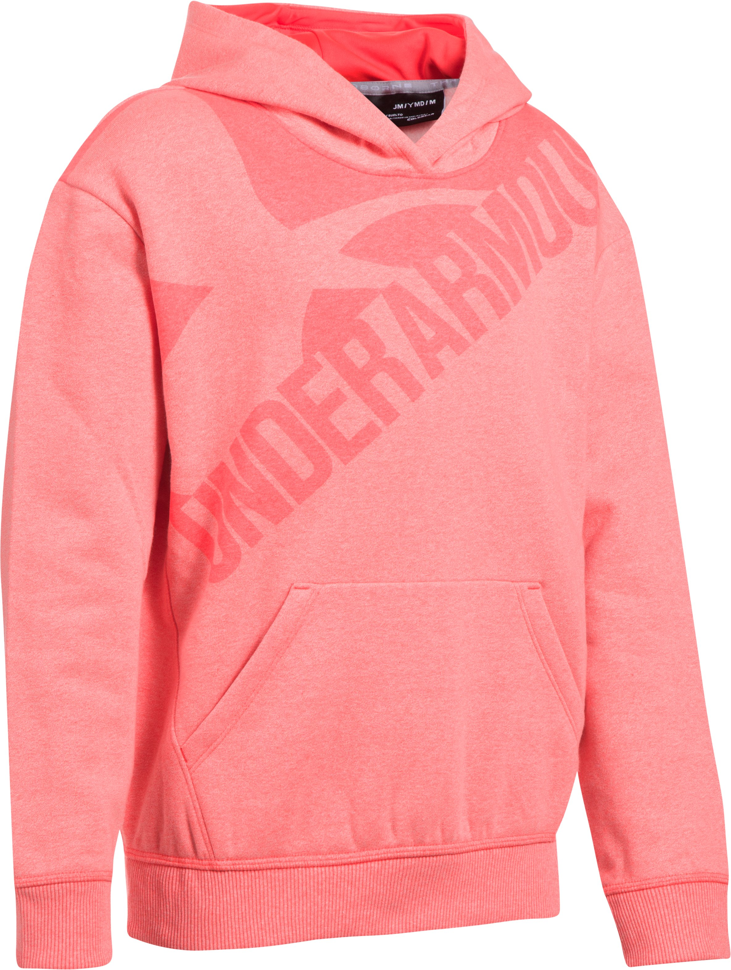 Girls' UA Threadborne™ Printed Fleece Hoodie, MARATHON RED