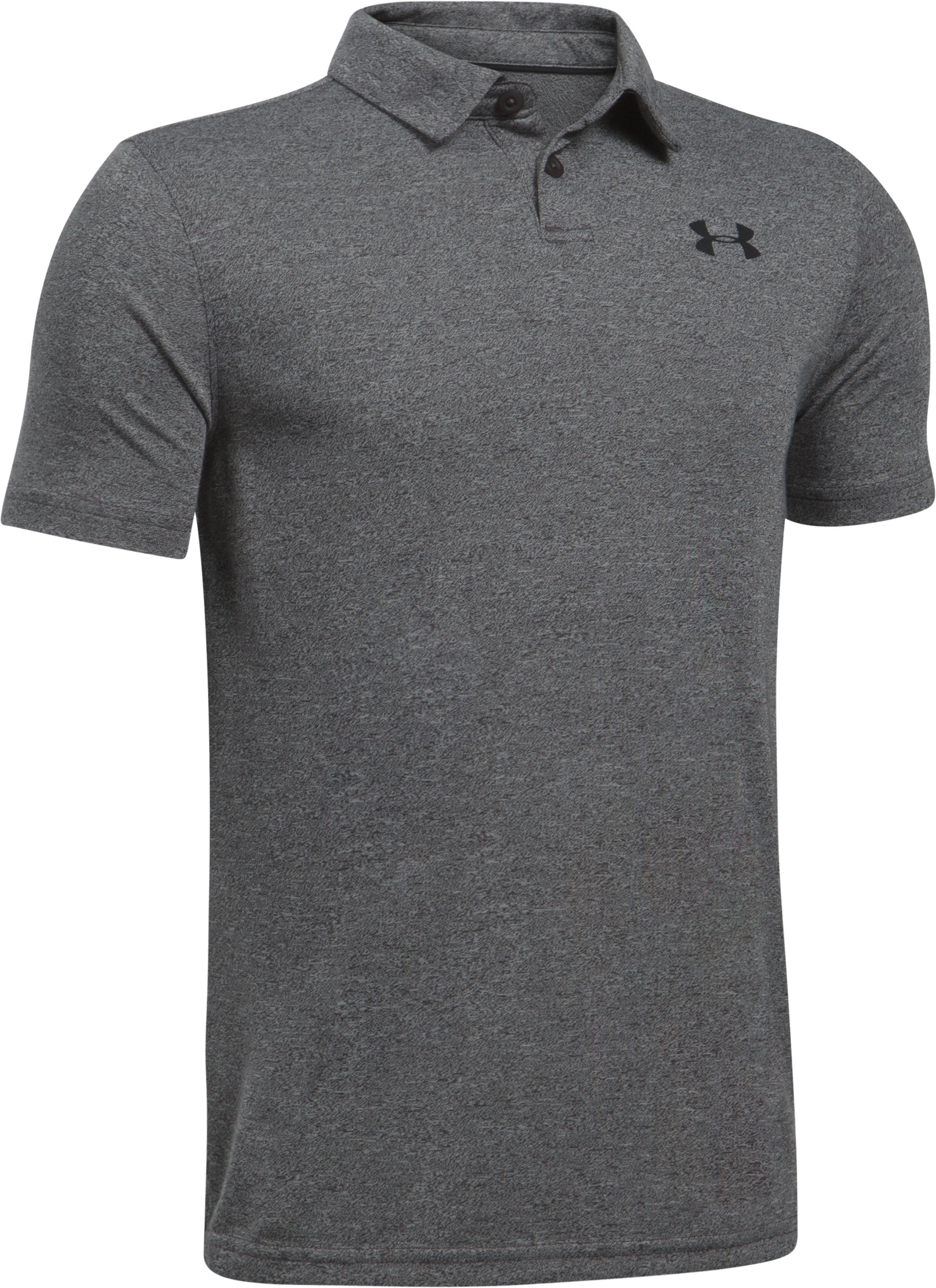 Boys' UA Threadborne Polo, Carbon Heather, undefined