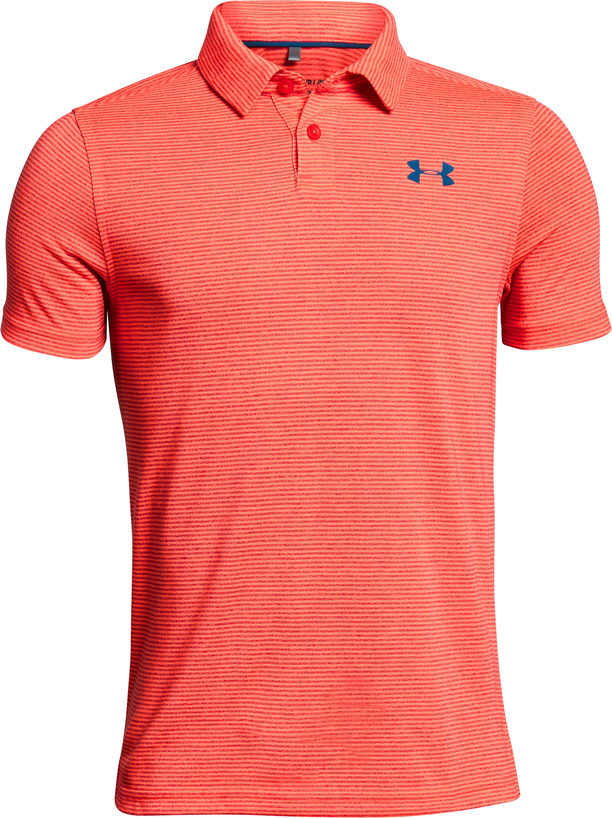 Boys' UA Threadborne Polo, NEON CORAL,