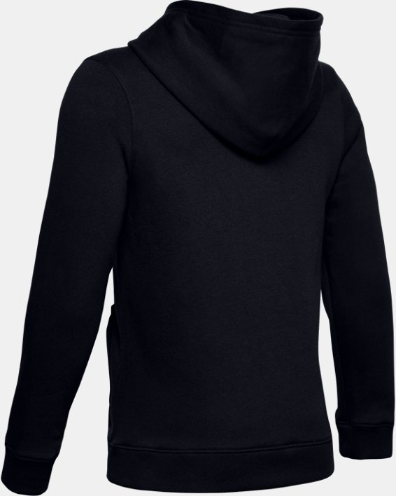 Boys' UA Hustle Fleece Hoodie, Black, pdpMainDesktop image number 2