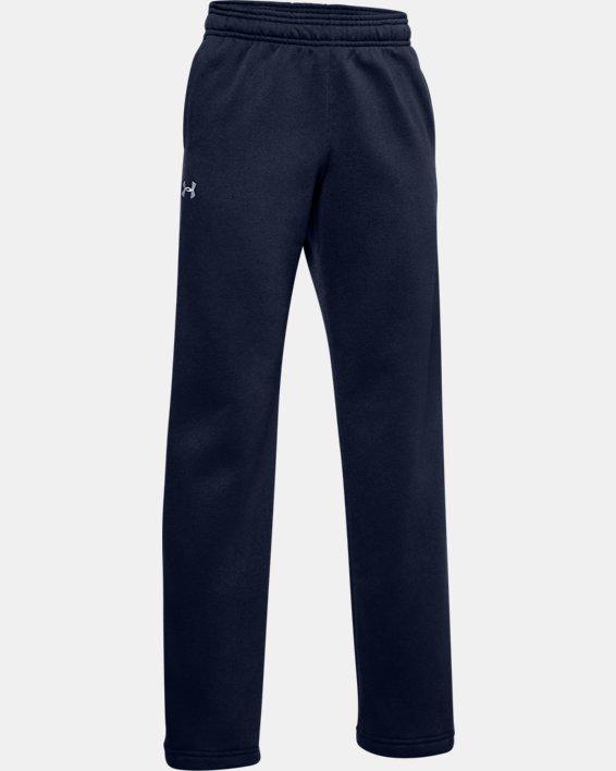 Boys' UA Hustle Fleece Pants, Navy, pdpMainDesktop image number 1