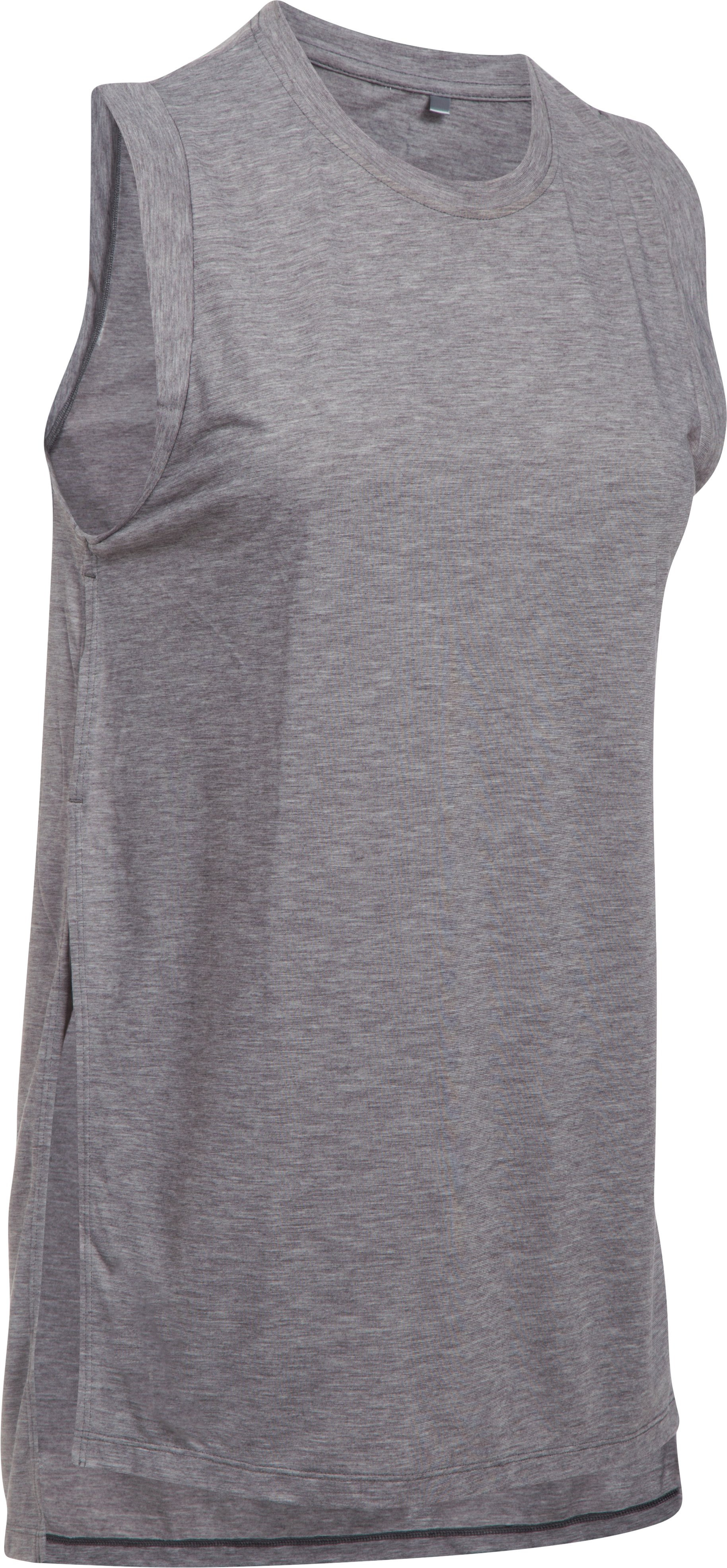 Women's UA Breathe Tunic Tank, Carbon Heather, undefined