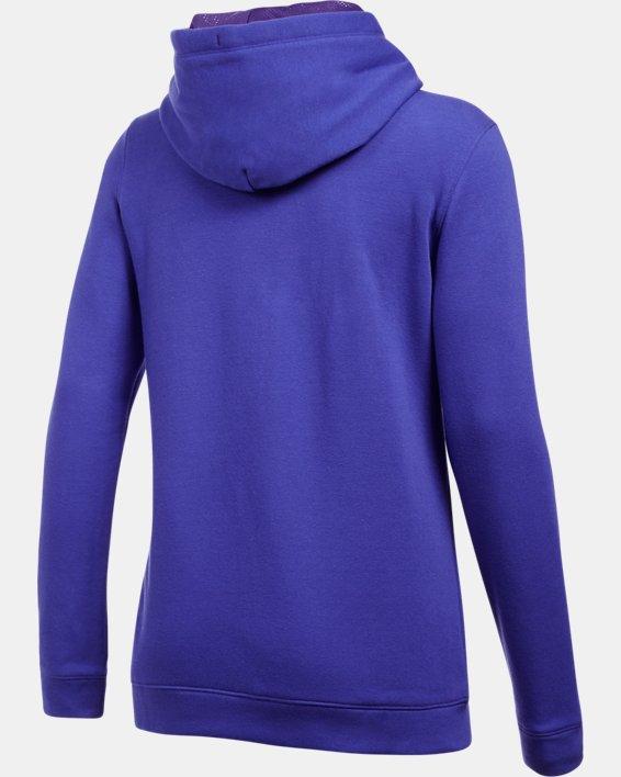 Women's UA Hustle Fleece Hoodie, Purple, pdpMainDesktop image number 7