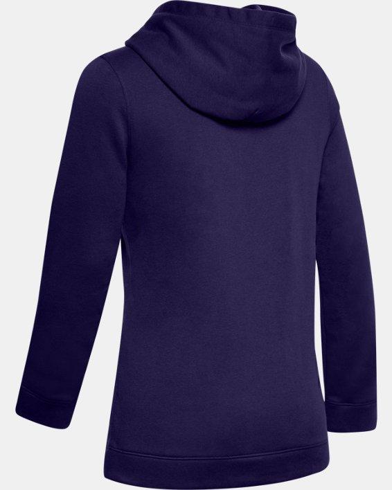 Women's UA Hustle Fleece Hoodie, Purple, pdpMainDesktop image number 6