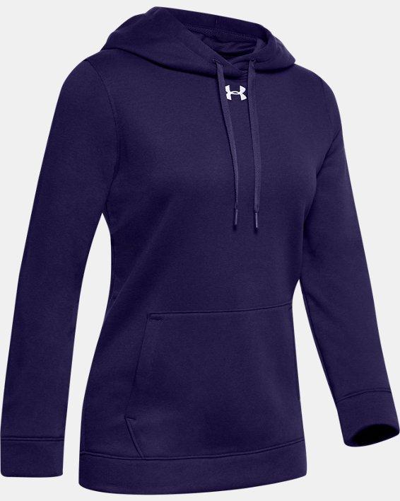 Women's UA Hustle Fleece Hoodie, Purple, pdpMainDesktop image number 5