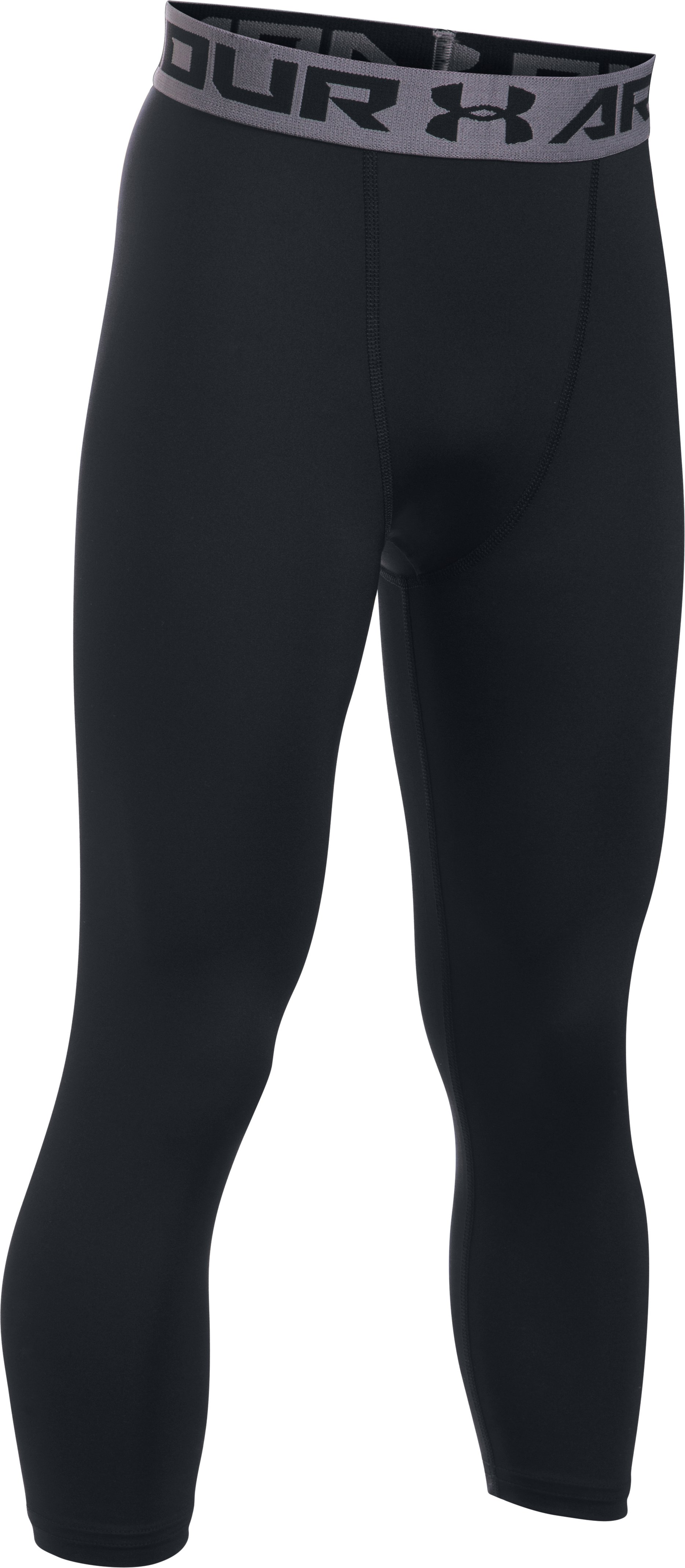Boys' HeatGear® Armour ¾ Blocked Leggings, Black ,
